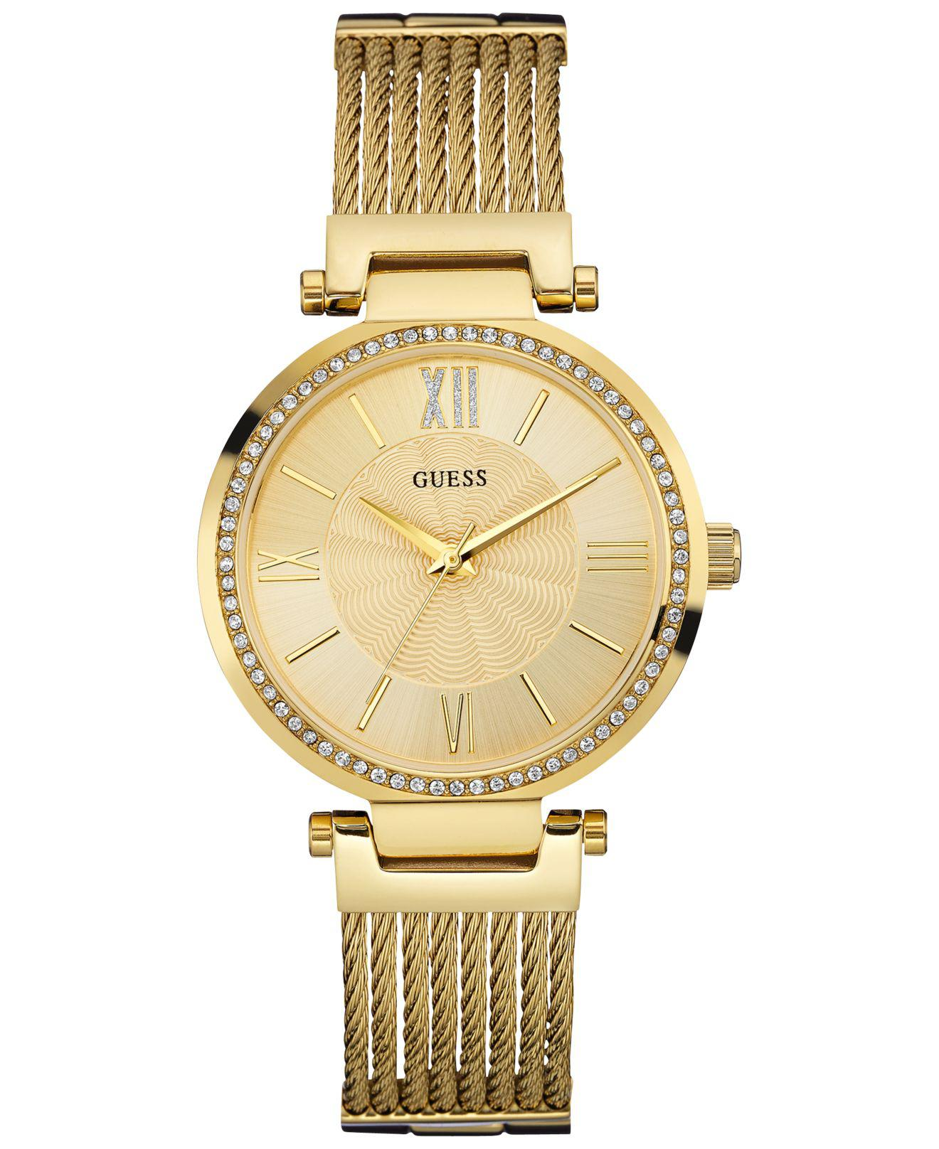 8356bacae14b Guess - Metallic Women s Gold-tone Stainless Steel Self-adjustable Bracelet  Watch 36mm U0638l2. View fullscreen