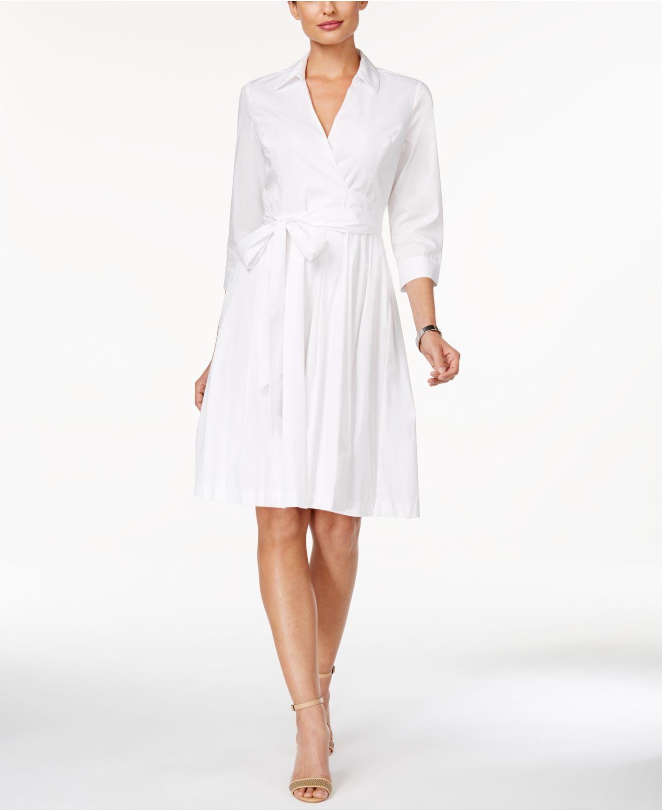 Ivanka Trump Faux Wrap A Line Dress In White Lyst