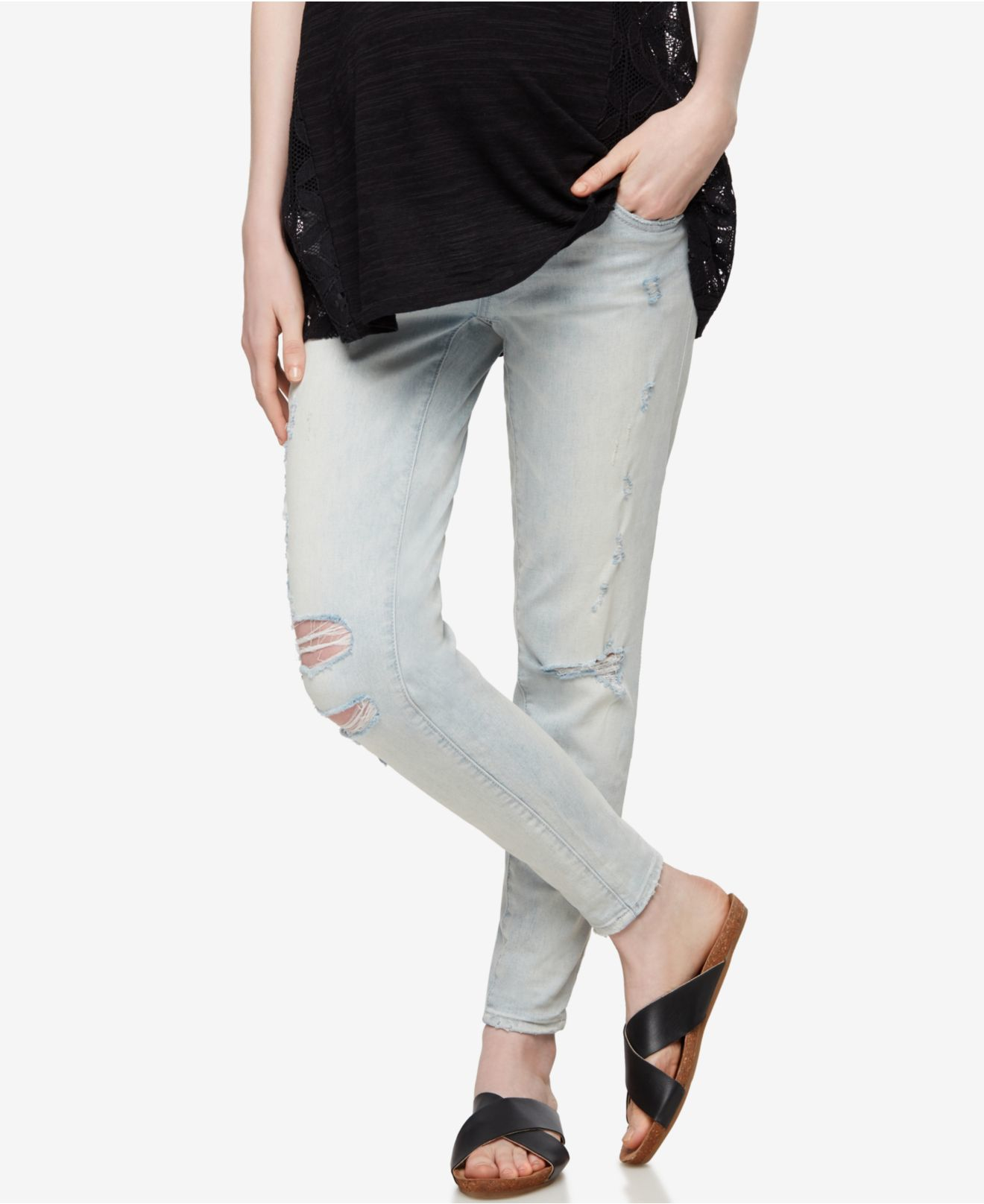 blank nyc maternity light wash skinny jeans in blue lyst. Black Bedroom Furniture Sets. Home Design Ideas