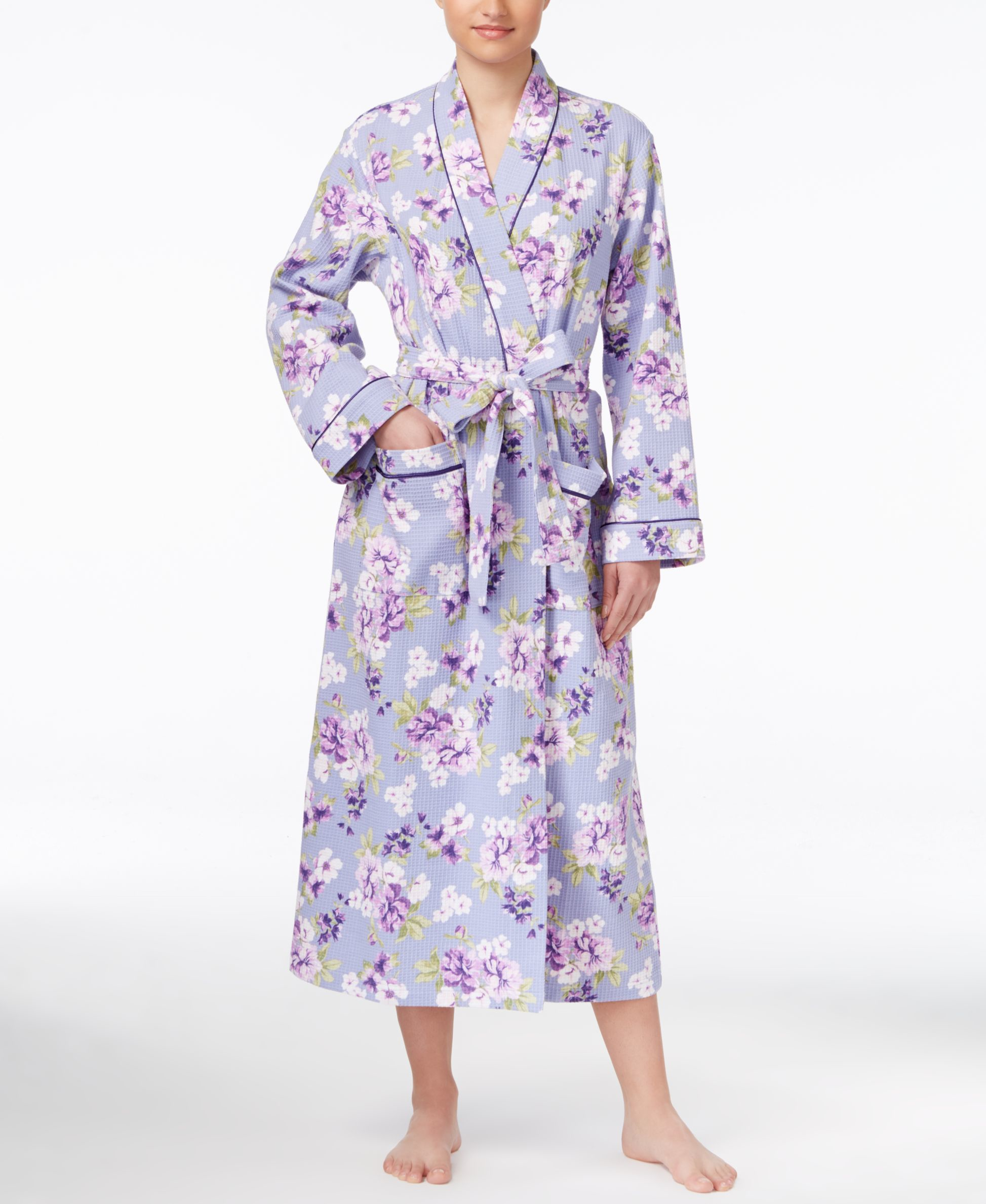 Charter Club Floral-print Long Robe, Only At Macy's
