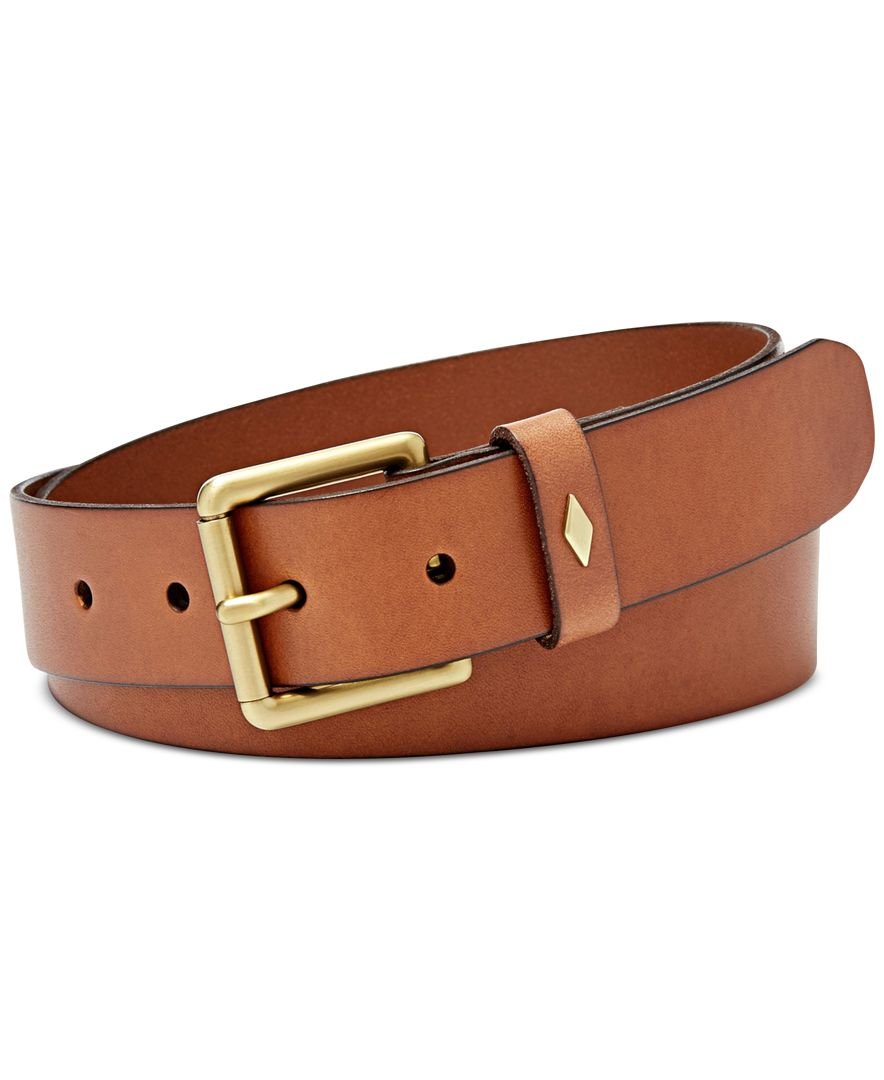 fossil keeper leather belt in brown lyst