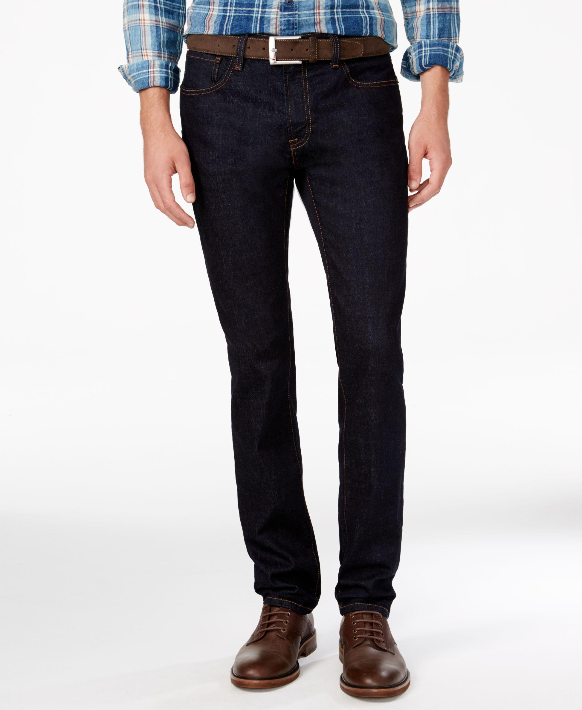 Add some sleek flair to any ensemble with slim jeans for men. A great pair of jeans is a well-loved option for any casual style. Slim fit jeans are an excellent way to make jeans dressy, especially when worn with a bulky top. Find stylish jeans in slim fit styles from INC International Concepts, Denim & Supply Ralph Lauren and many more.