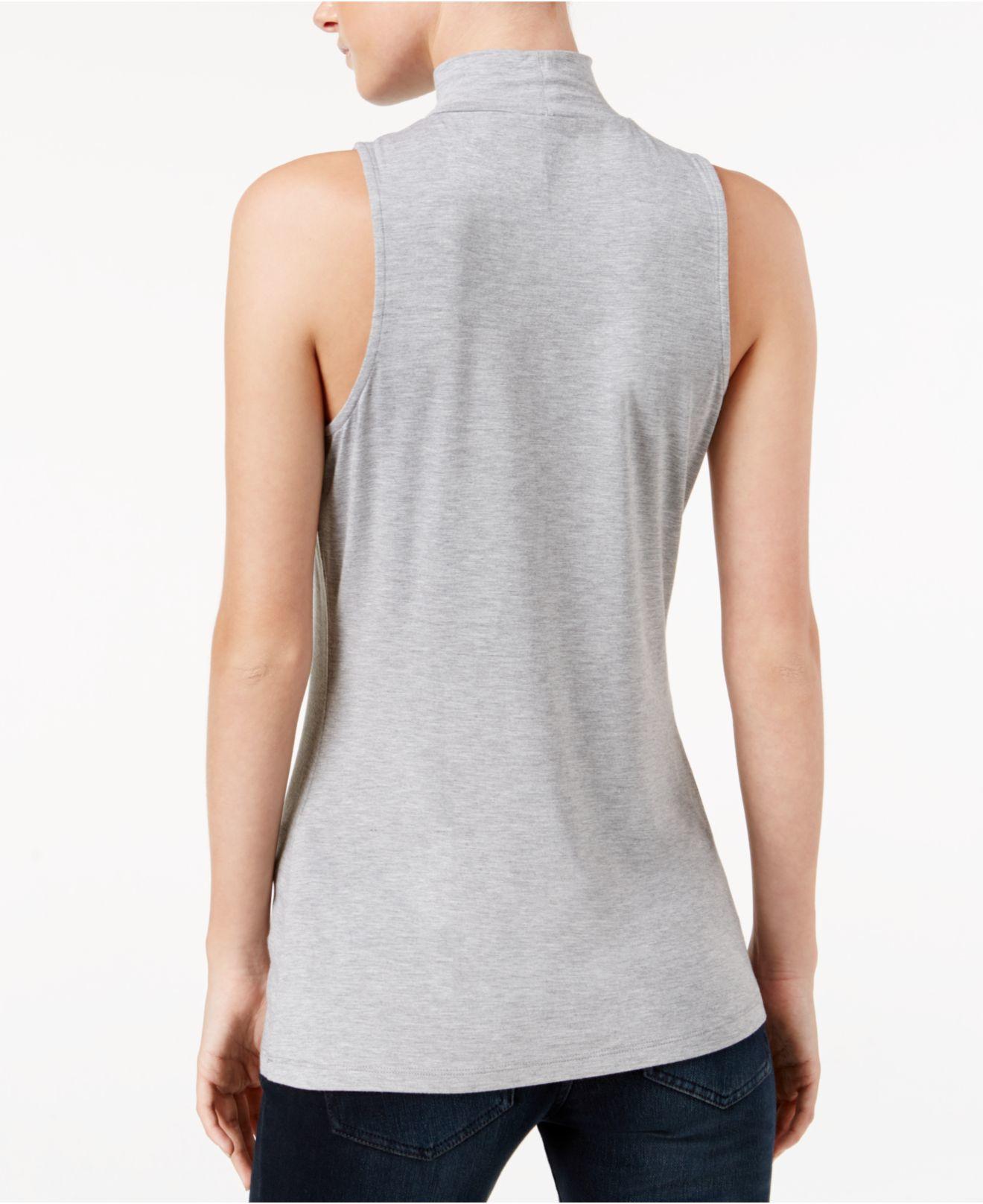 Lyst Kensie Sleeveless Mock Turtleneck Top In Gray