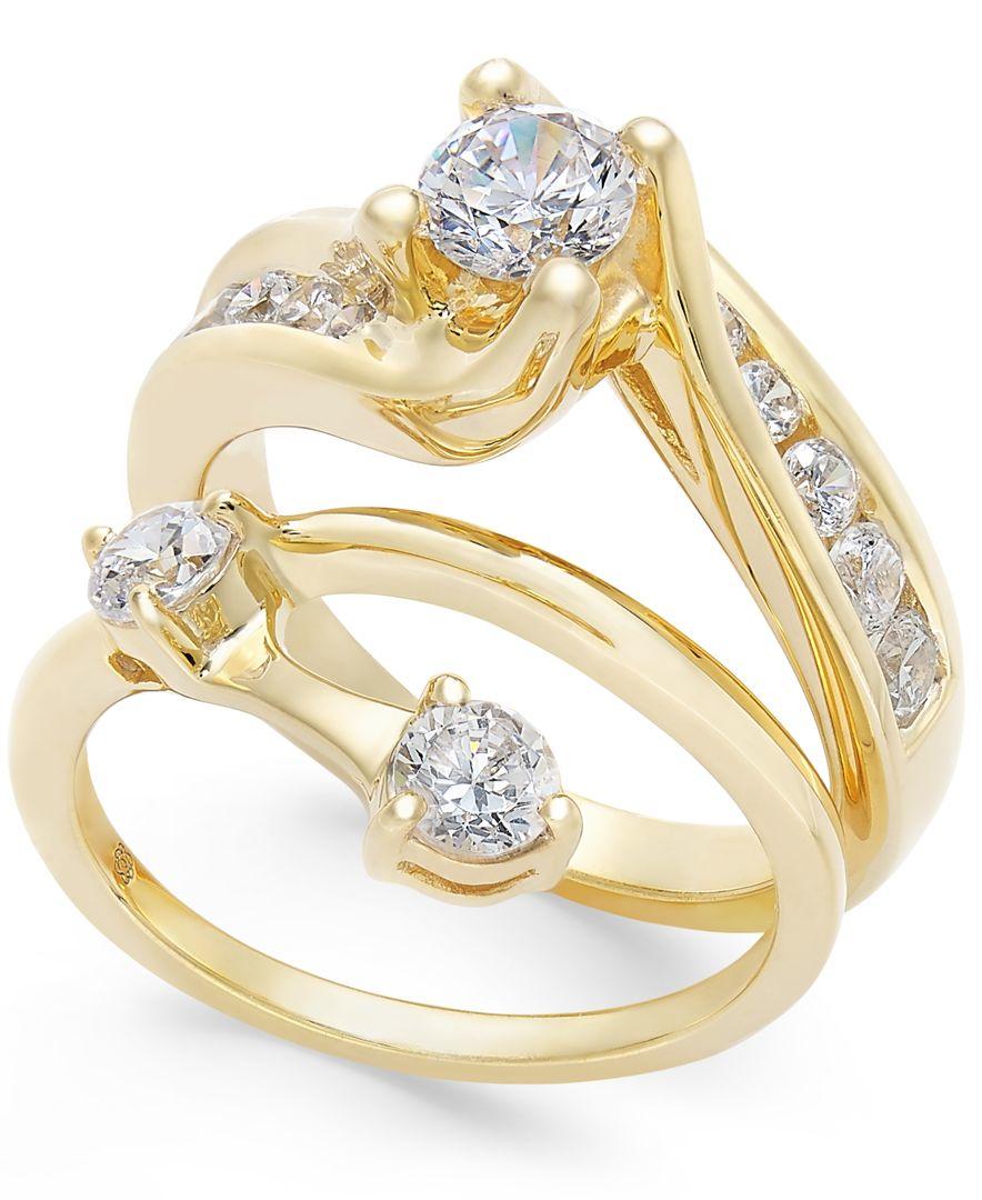 Macy s Diamond Interlocking Bridal Set 1 1 2 Ct T w In 14k Gold in Me