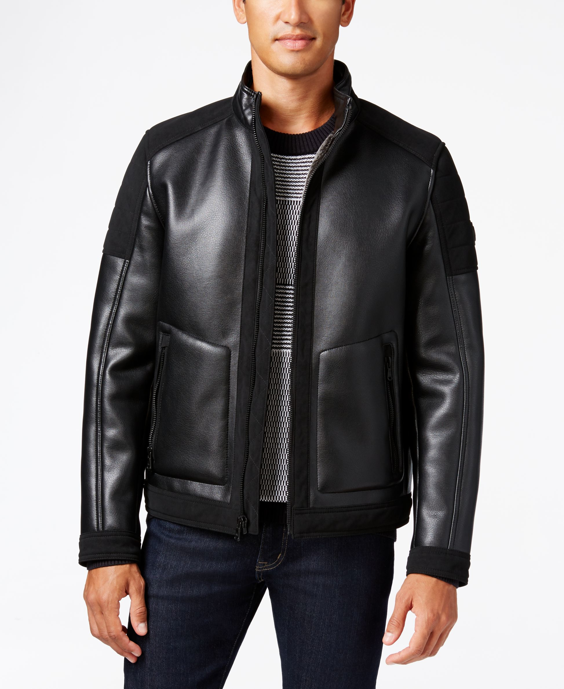 Michael Kors Big Amp Tall Faux Leather Faux Shearling Jacket
