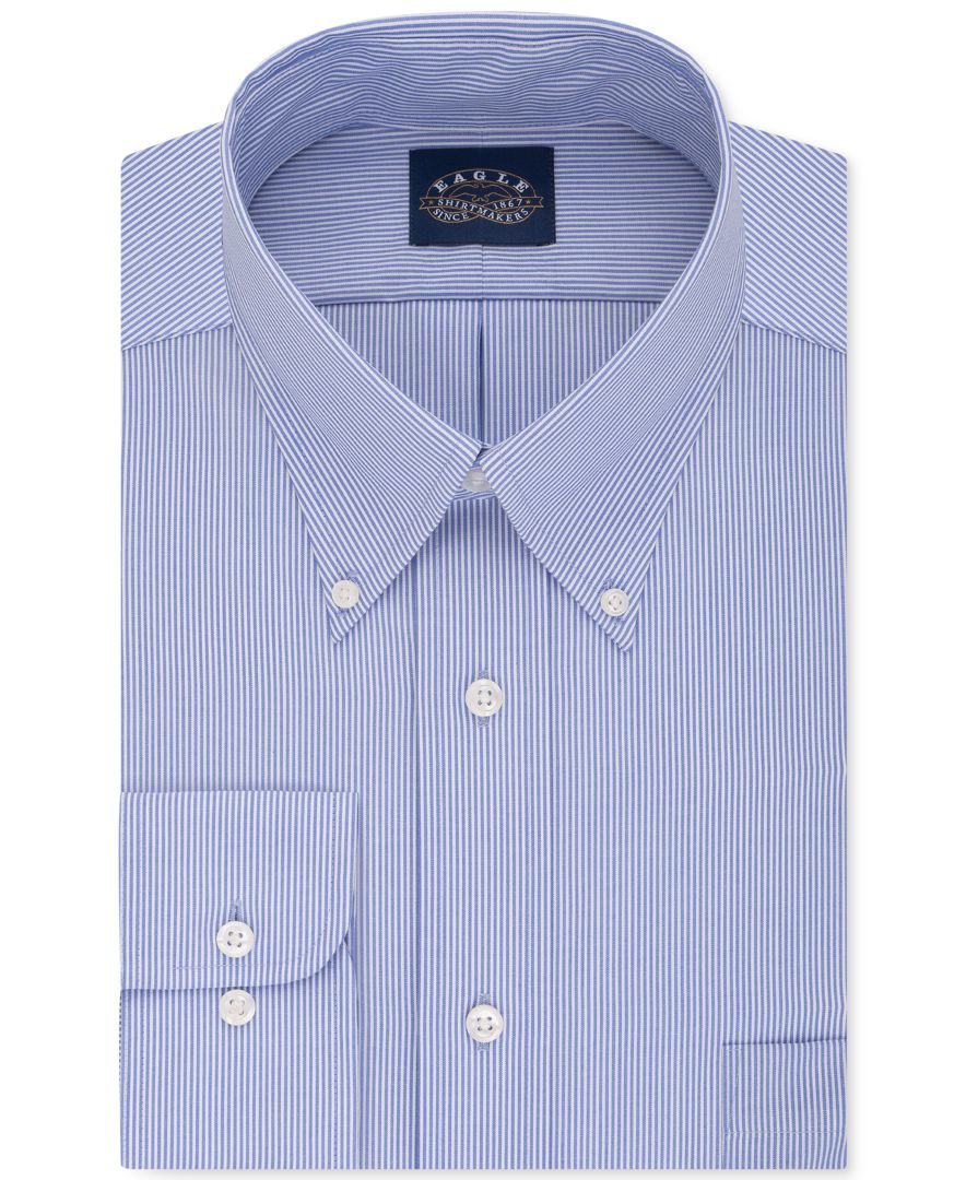 Eagle men 39 s classic fit stretch collar non iron blue solid for What is a non iron shirt