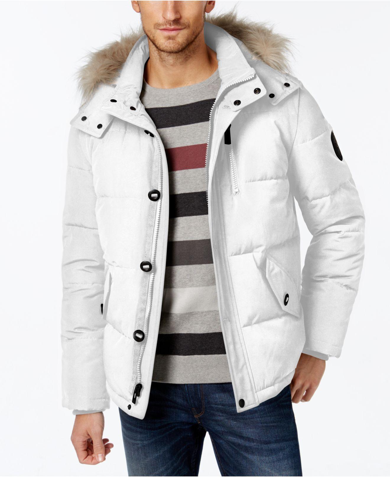 Calvin Klein Men's Snorkel Faux-fur-lined Hooded Coat In