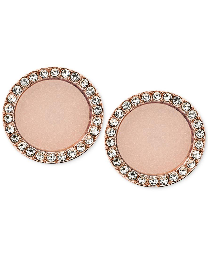 Michael kors rose gold tone disc stud earrings in pink lyst for Michael b jewelry death