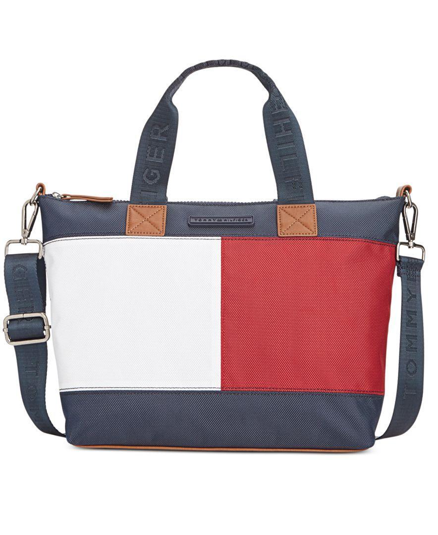 7a2d81c42c4 Tommy Hilfiger Colorblock Flag Nylon Shopper - Lyst