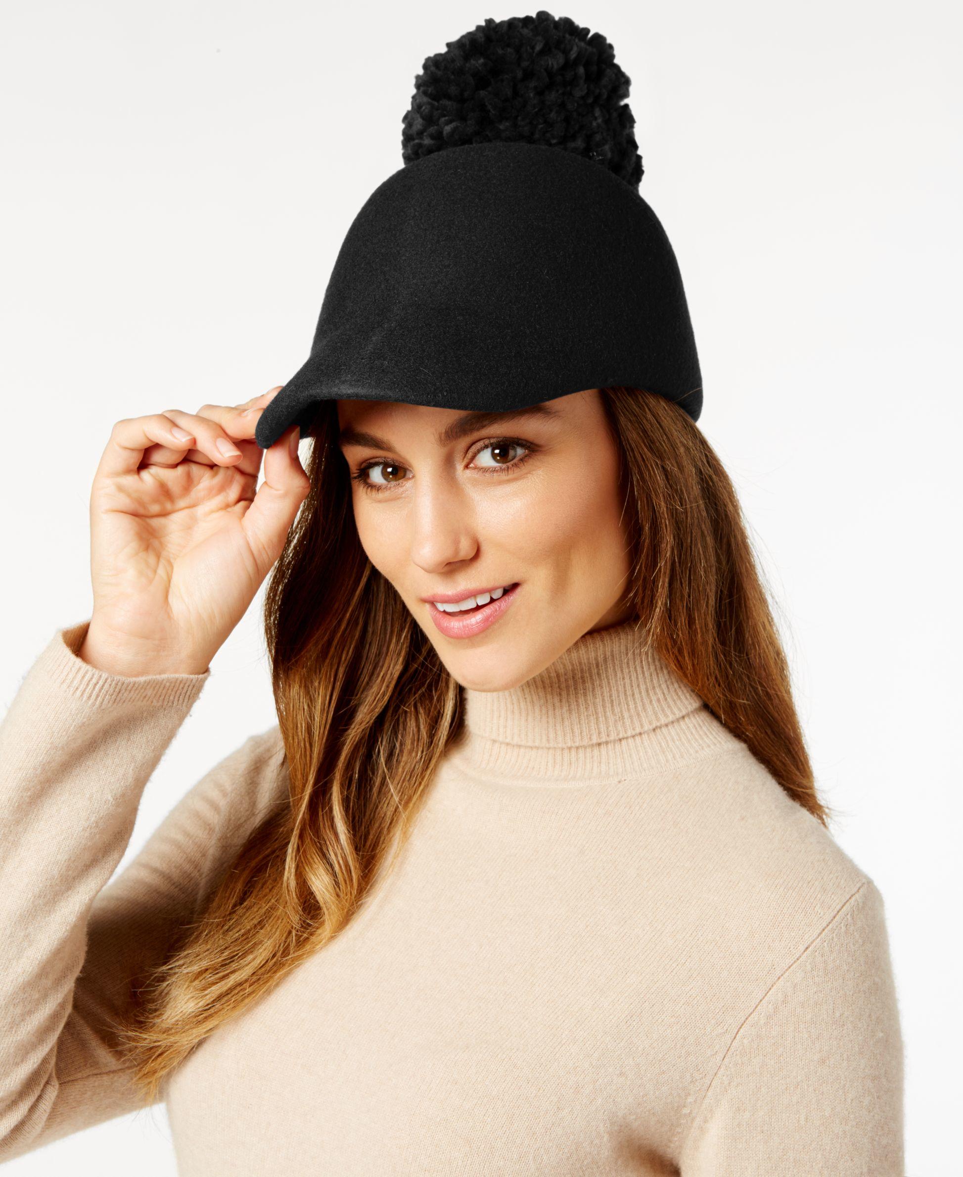 Bcbgmaxazria Winter Pom Pom Baseball Hat in Black