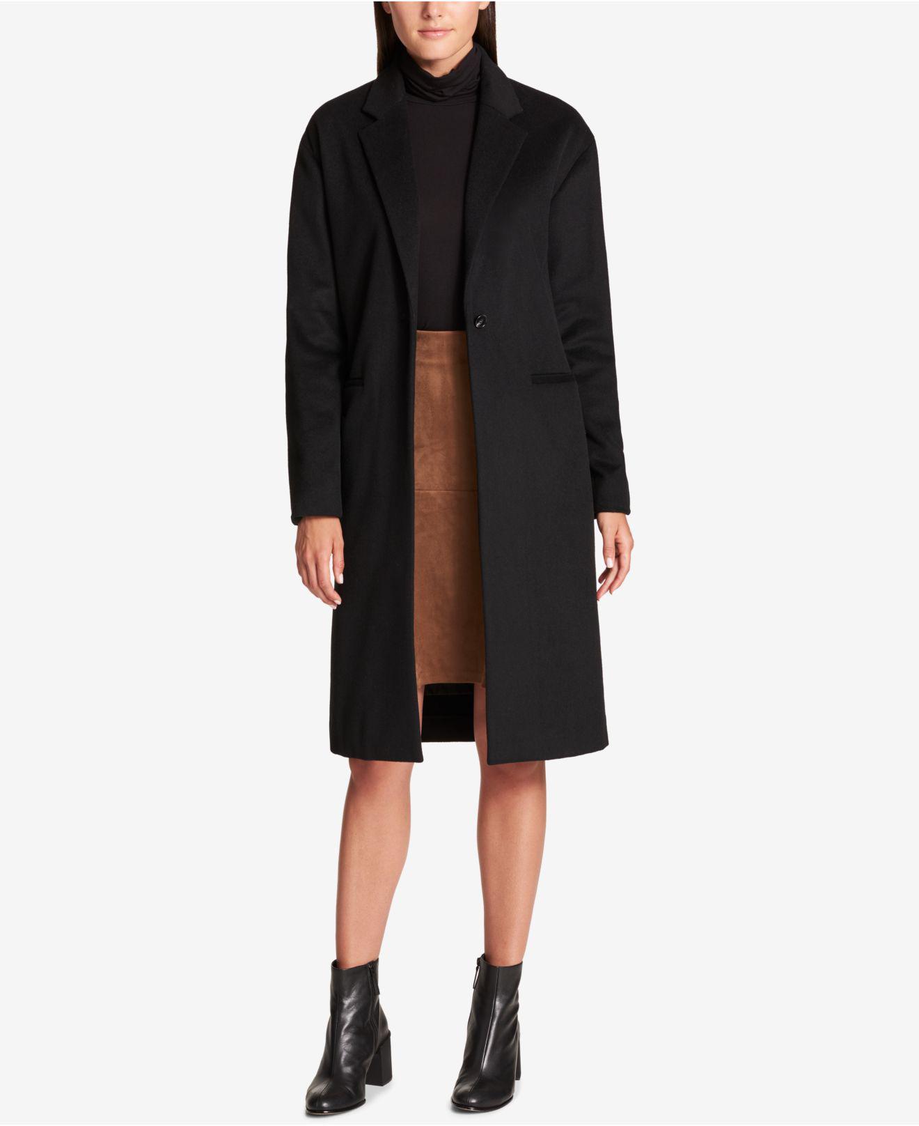 fbe9263613e Lyst - DKNY Wool-blend Maxi Walker Coat in Black