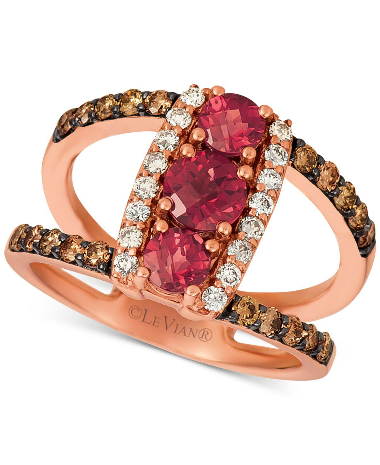 1a4534a6fc258 Women's ® Rhodolite (1 Ct. T.w.) & Nudetm & Chocolatetm Diamond (5/8 Ct.  T.w.) Statement Ring In 14k Rose Gold