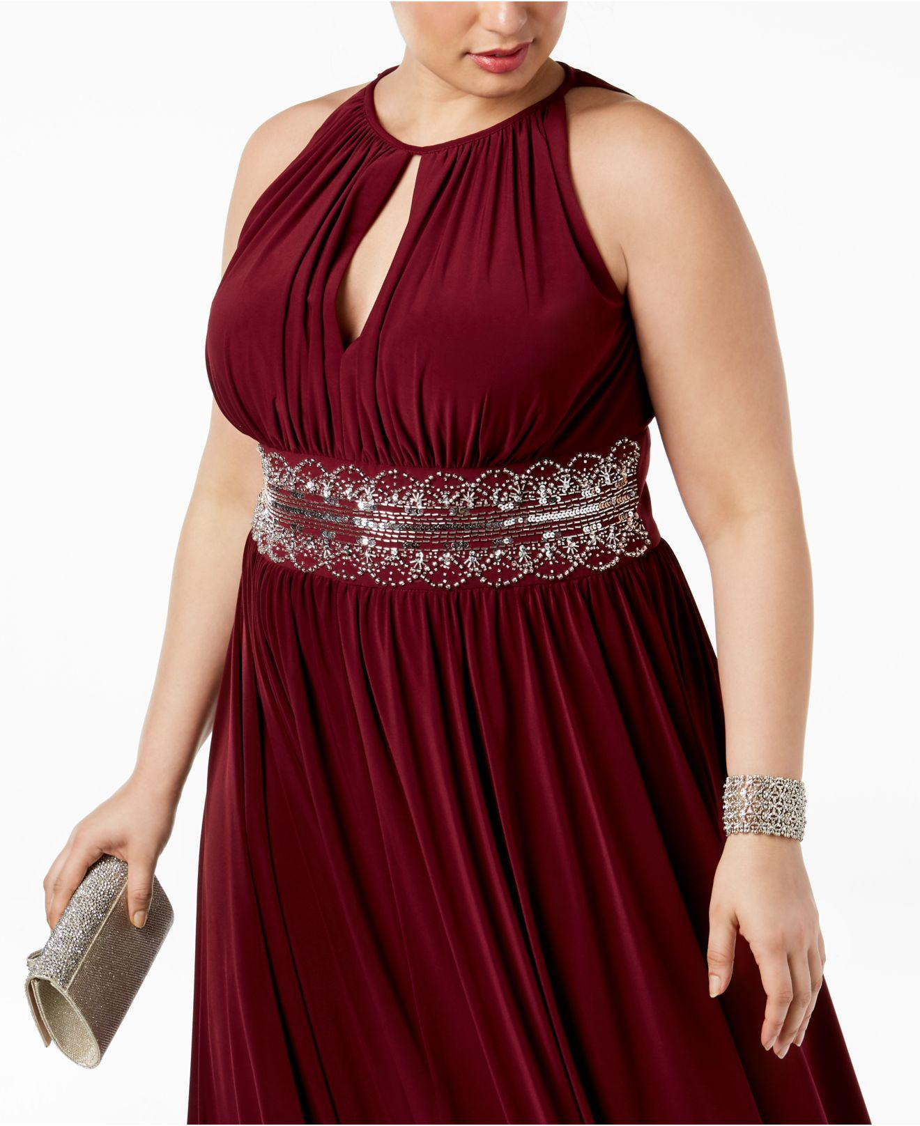 R & M Richards Red R&m Richards Plus Size Sleeveless Beaded Gown