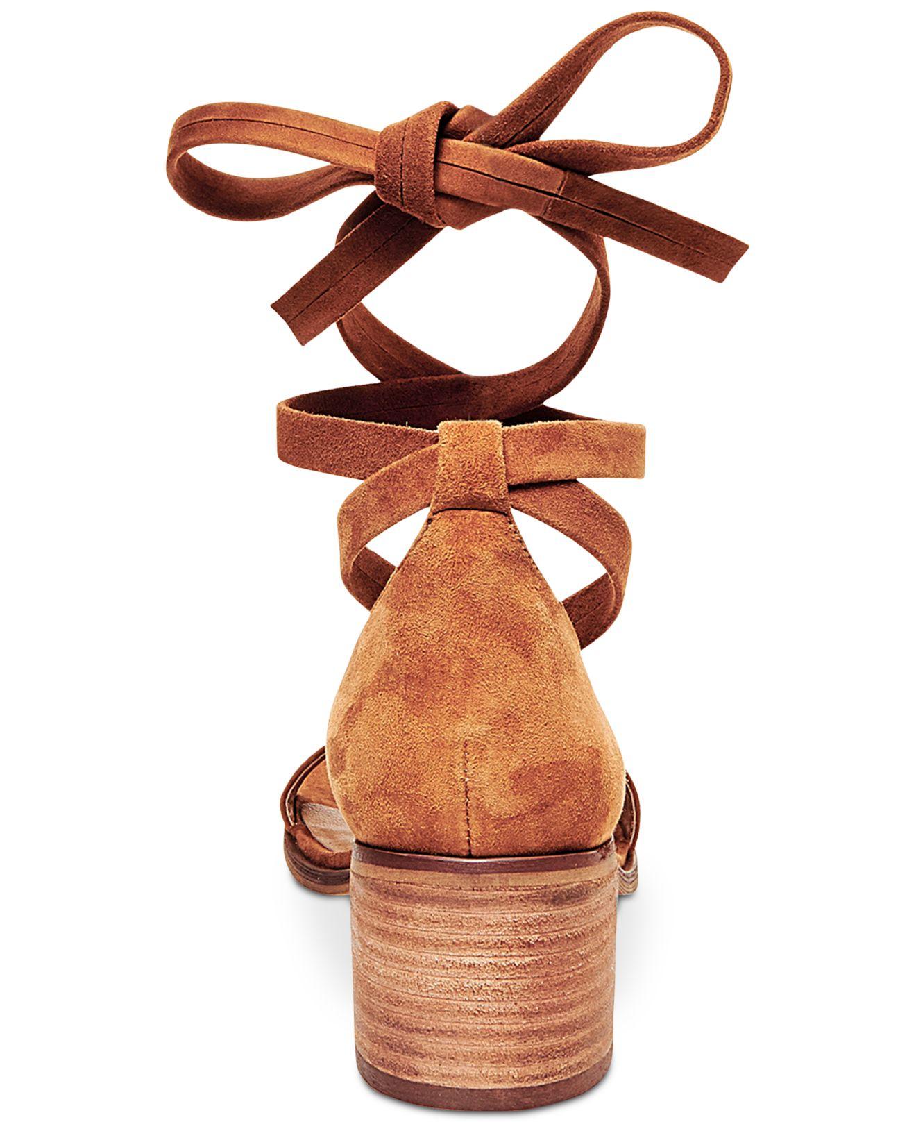 Lyst Steve Madden Women S Rizza Lace Up Block Heel Sandals