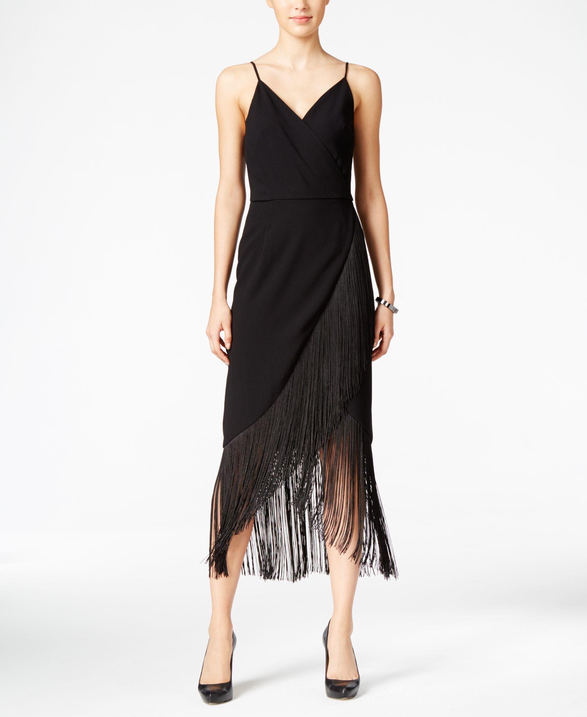 Rachel rachel roy fringe faux wrap midi dress only at for Macy black dress wear to wedding