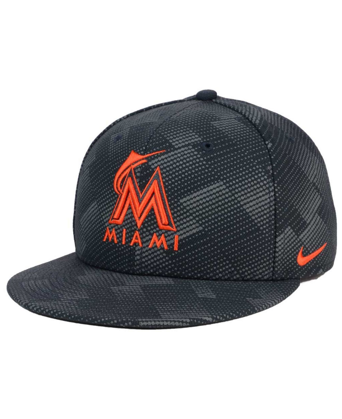 sports shoes 49a9d a2639 ... germany lyst nike miami marlins anthracite snapback cap for men af478  c5488