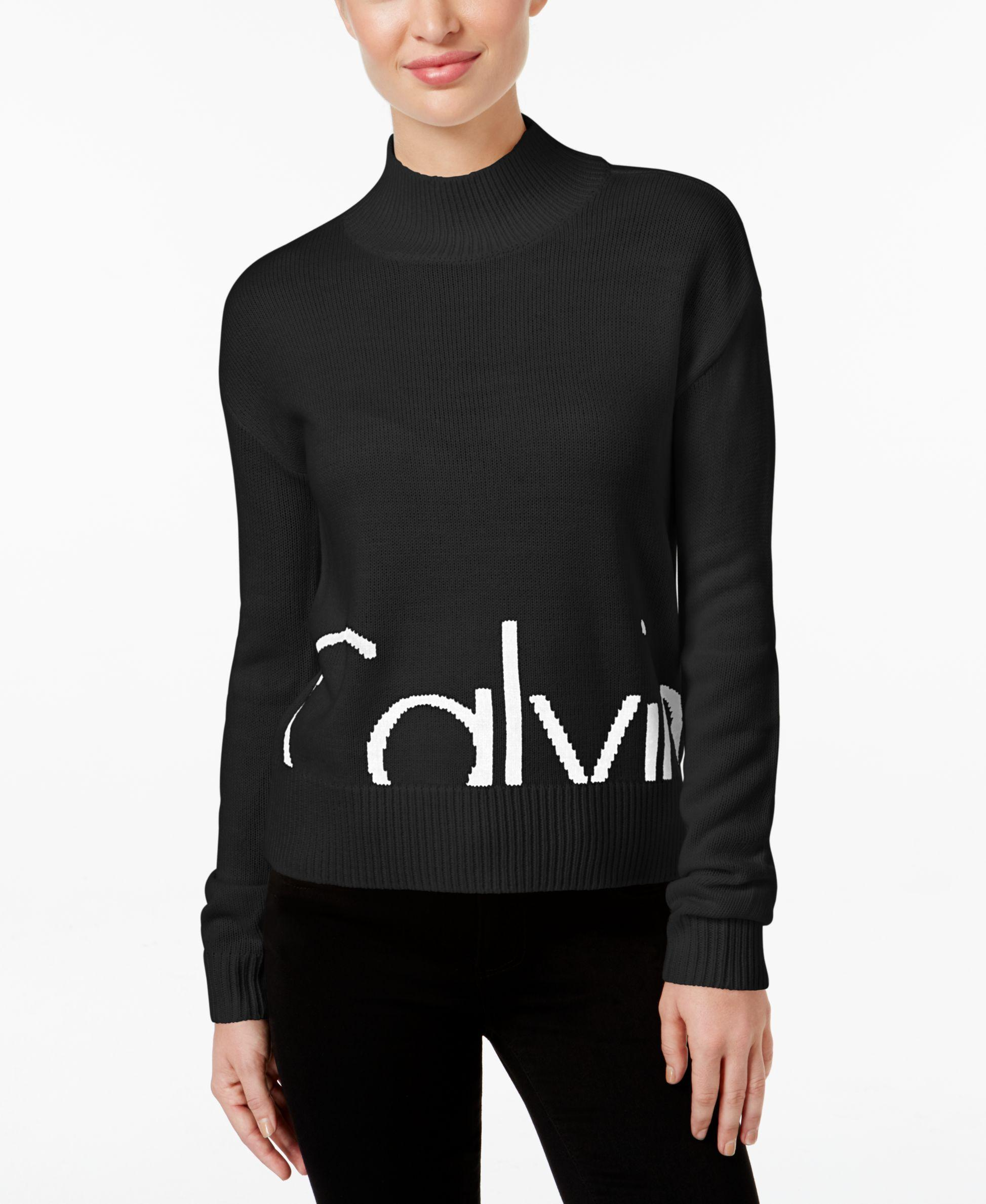 calvin klein jeans mock neck logo sweater in black lyst. Black Bedroom Furniture Sets. Home Design Ideas