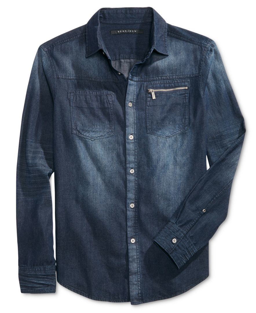 Sean John Men 39 S Long Sleeve Zip Pocket Denim Shirt In Blue