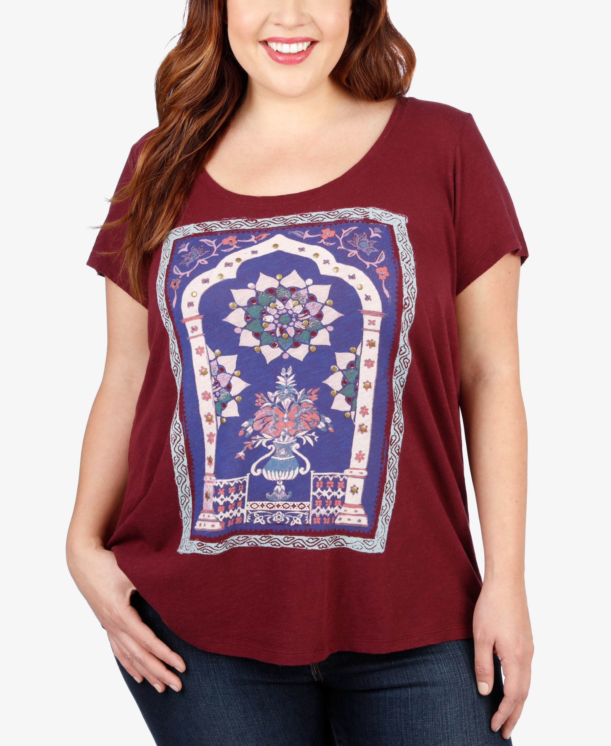 lucky brand trendy plus size graphic t shirt in purple lyst
