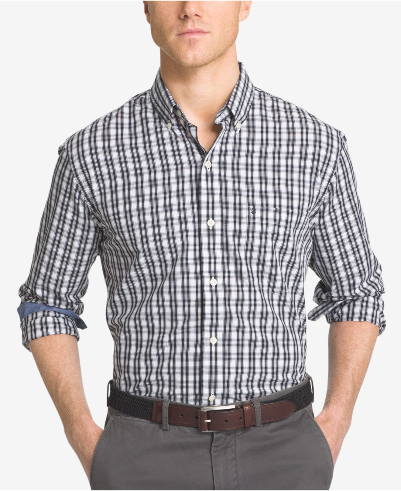 Lyst izod men 39 s non iron plaid button down long sleeve for Izod button down shirts