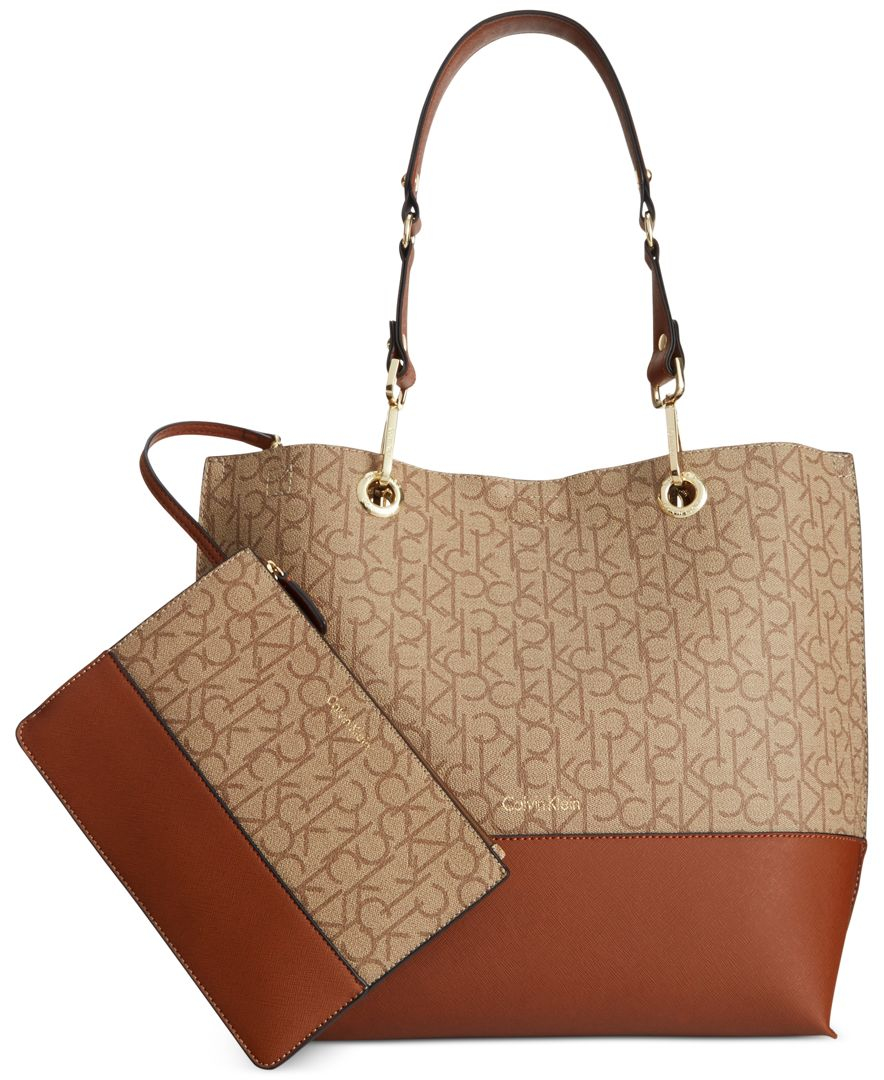 Calvin klein Signature Reversible Tote With Pouch in Brown ...