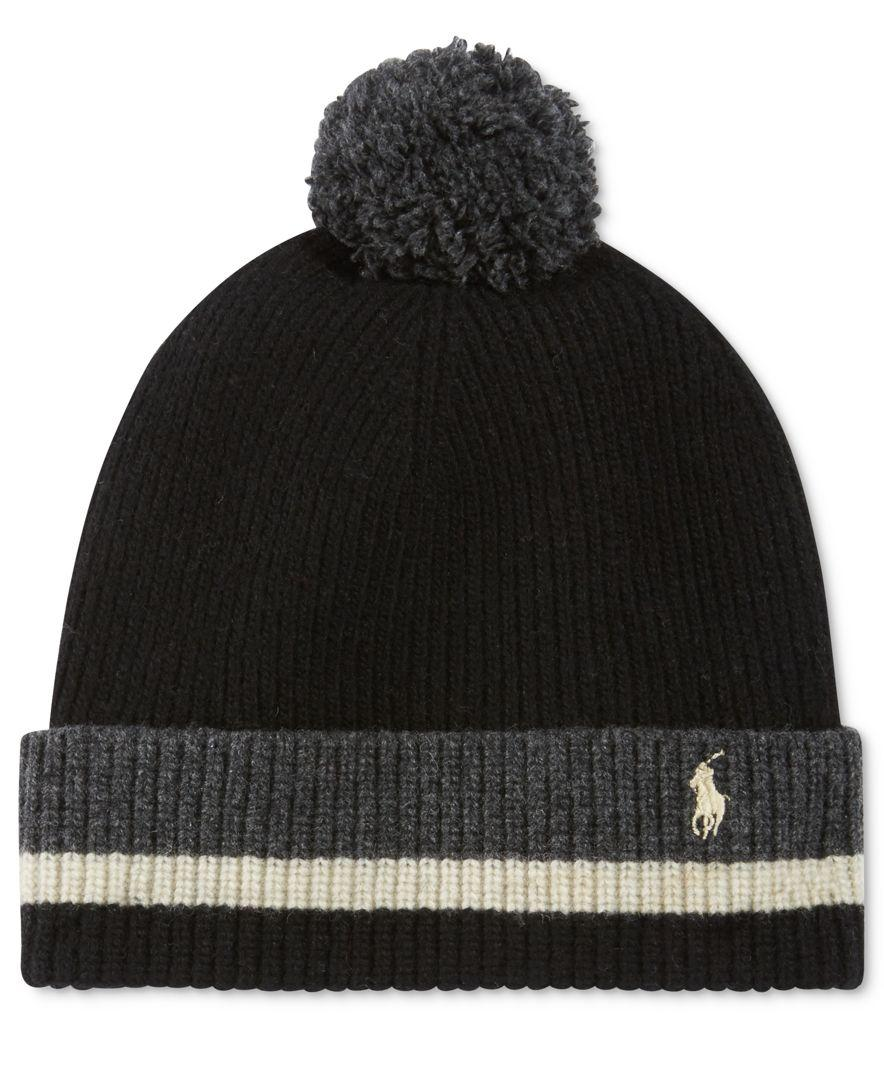 5316c28f54a77 Polo Ralph Lauren Men's Knit School-stripe Hat in Black for Men - Lyst