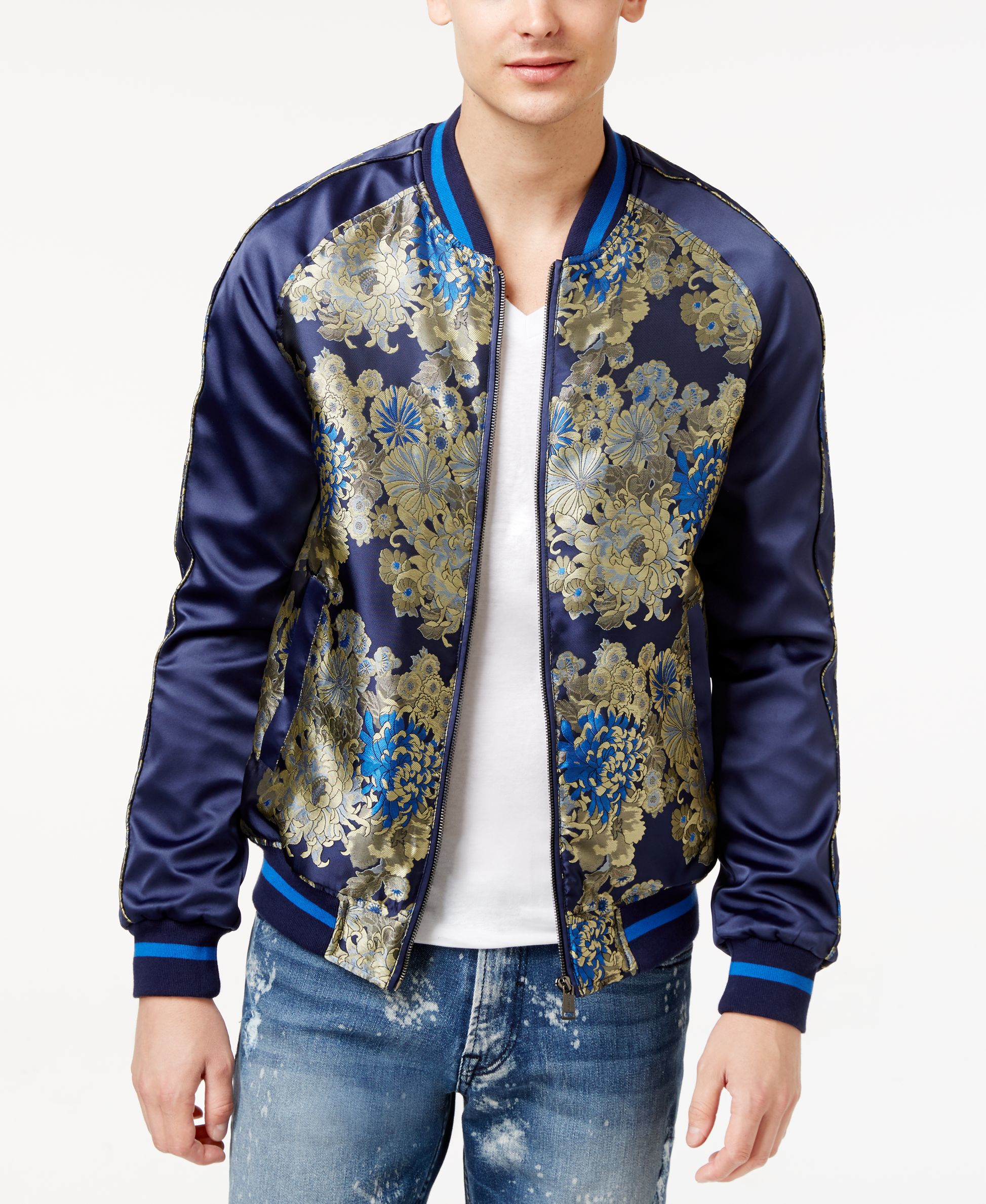Guess men s embroidered bomber jacket in blue for lyst