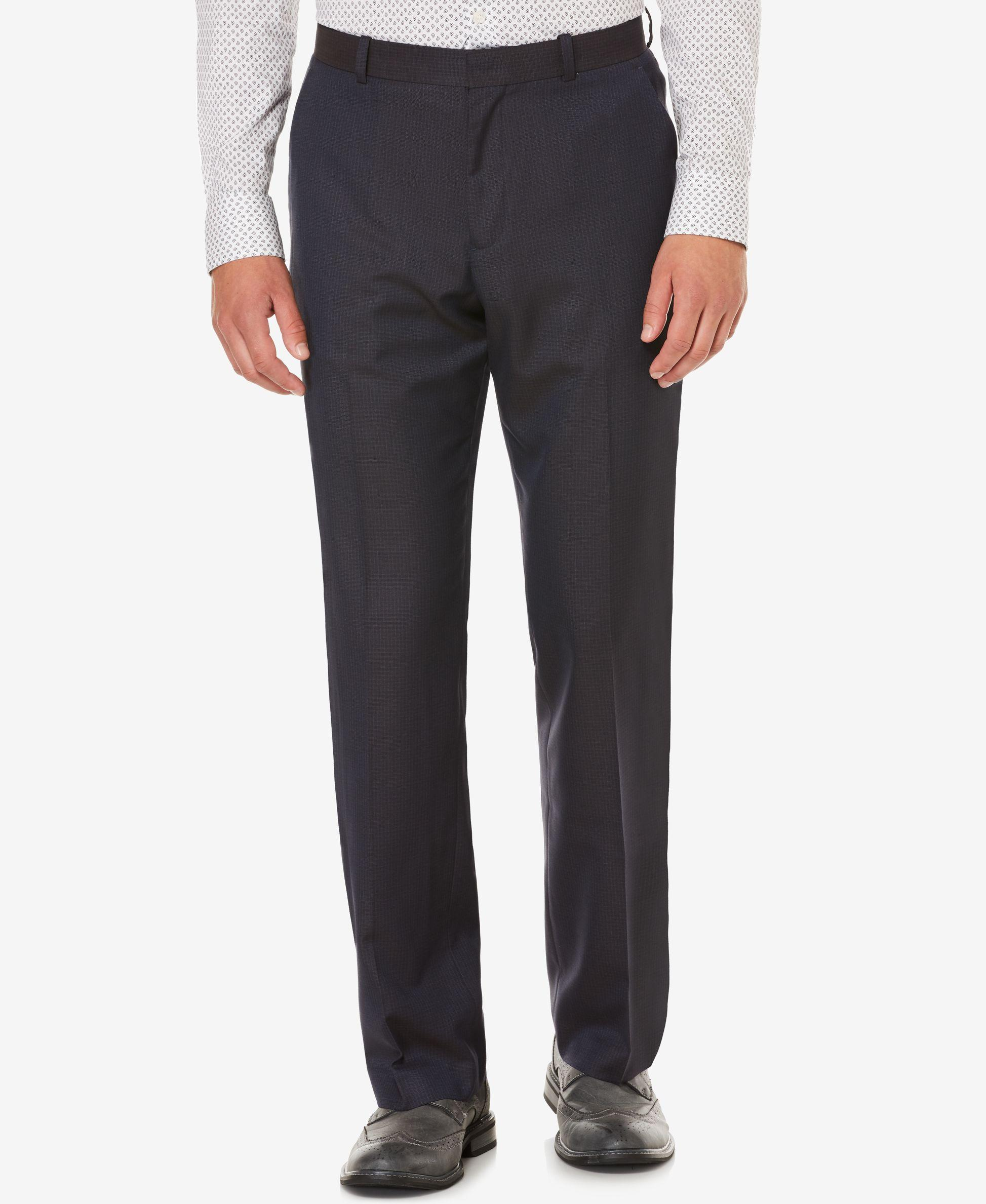 Perry Ellis Men S Classic Fit Flat Front Heathered Dress