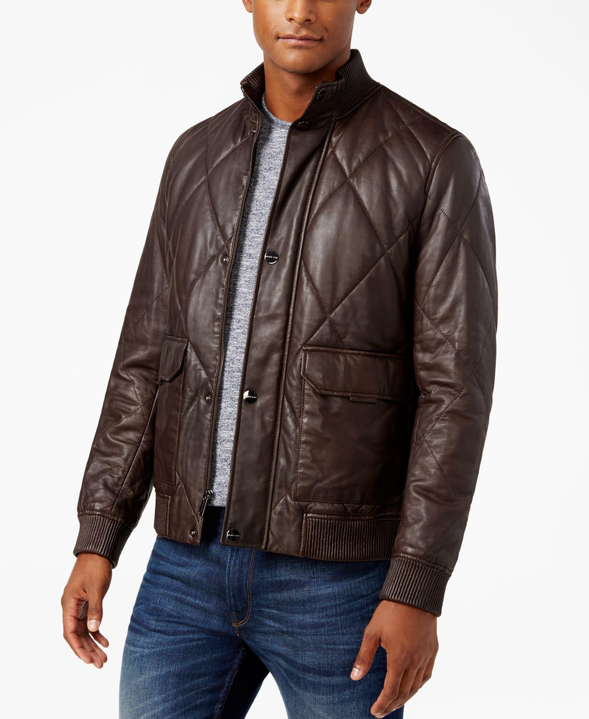 Michael kors Men's Quilted Leather Bomber Jacket in Brown for Men ...