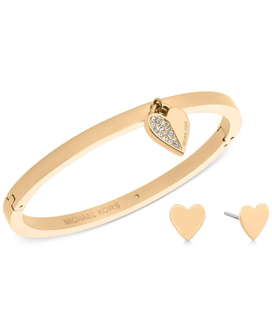 6c074b0b16bd Lyst - Michael Kors Pave Heart Bangle Bracelet And Matching Stud ...