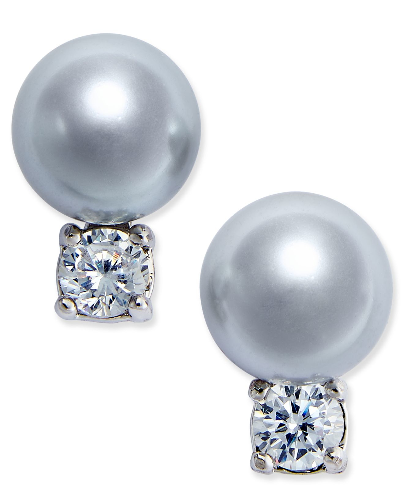 kate spade silver tone imitation pearl and stud
