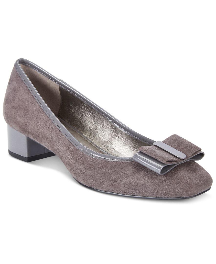 Grey Metallic Shoes Block Heel
