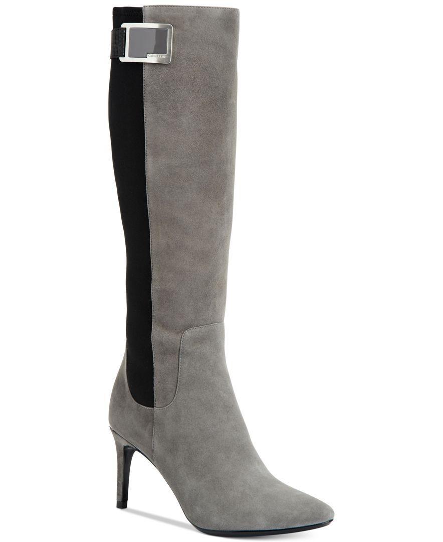 Calvin Klein Women S Jaidia Wide Calf Buckle Tall Boots In