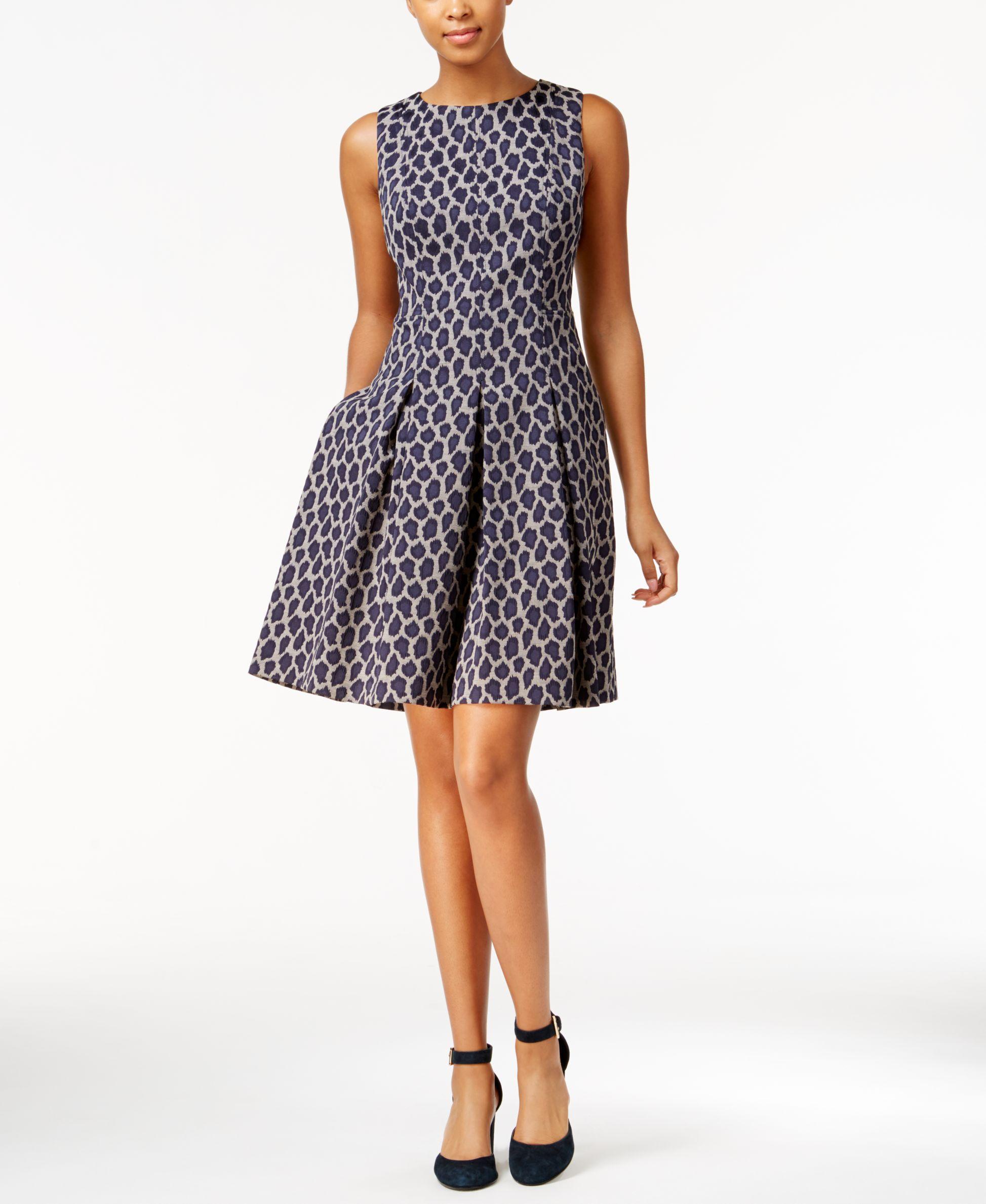98c885bb4fc Lyst - Tommy Hilfiger Leopard-print Fit   Flare Dress in Blue
