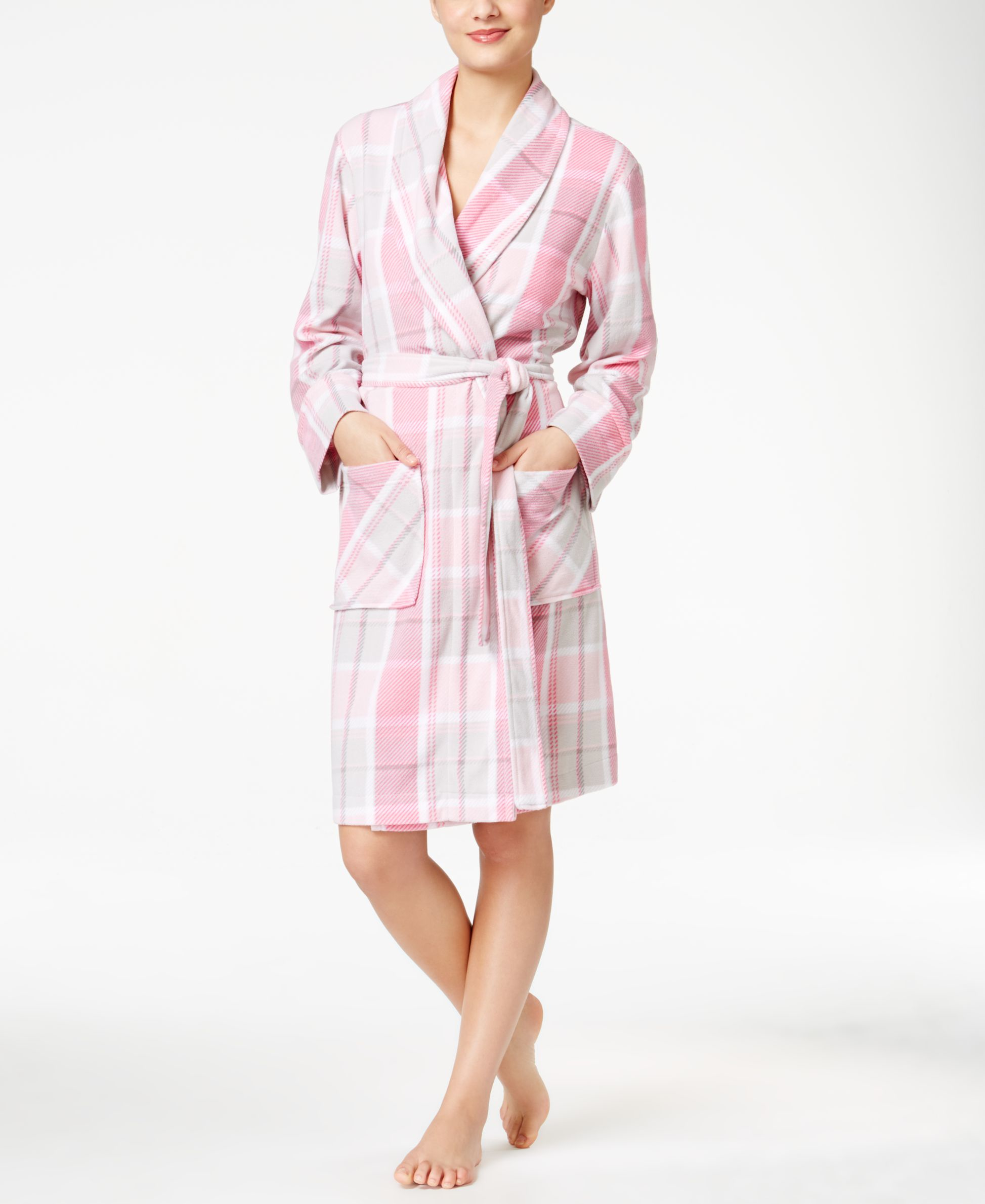 Charter Club Printed Short Robe, Only At Macy's In Pink
