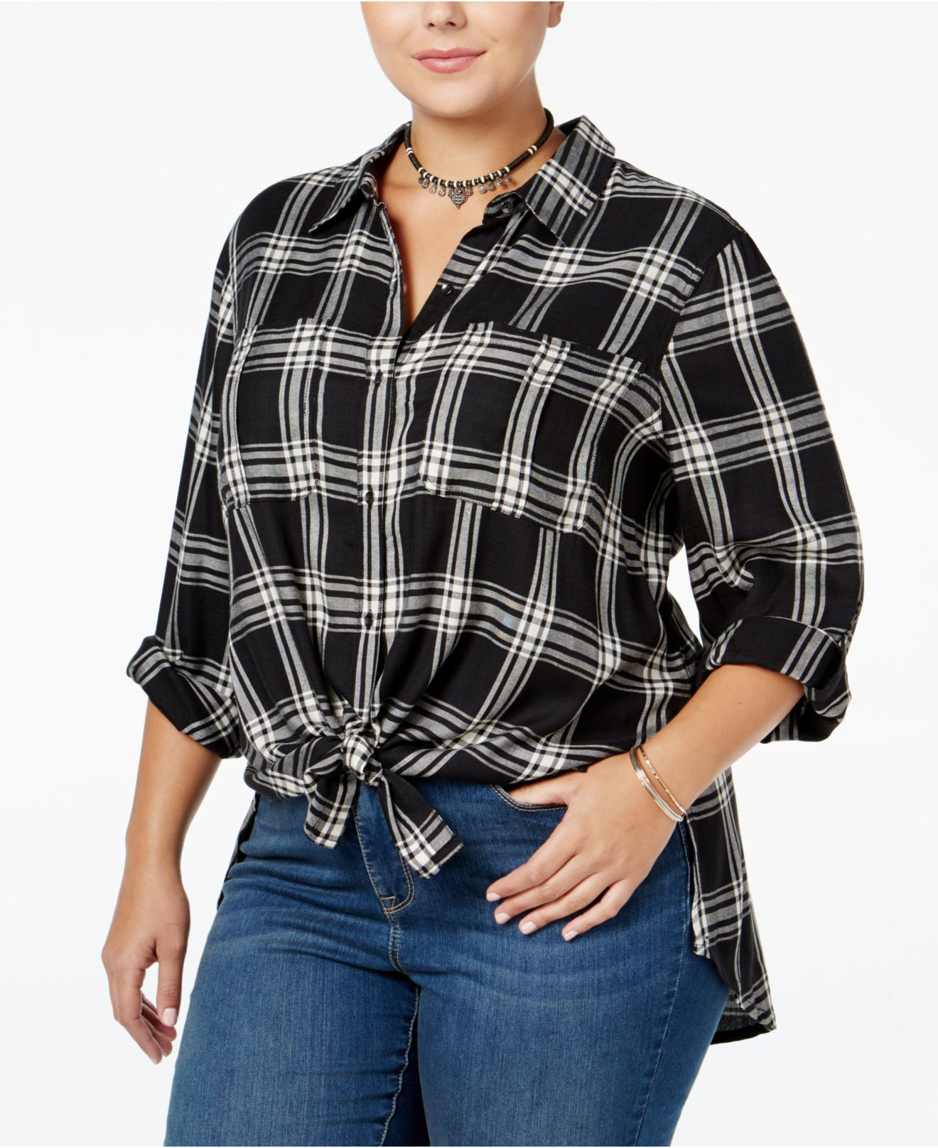 Lyst Jessica Simpson Trendy Plus Size Plaid Shirt In Black