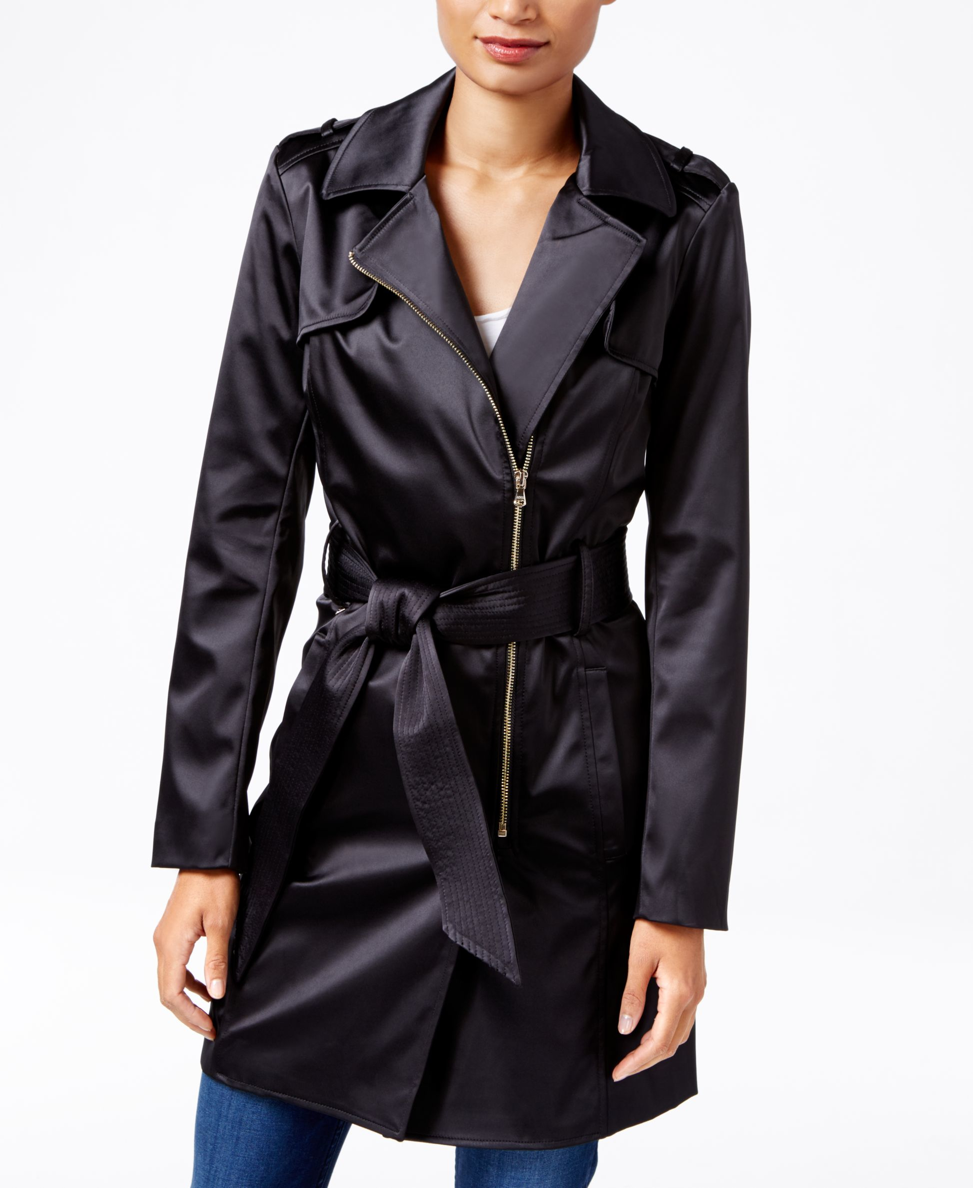 Lyst Guess Raffie Satin Trench Coat In Black