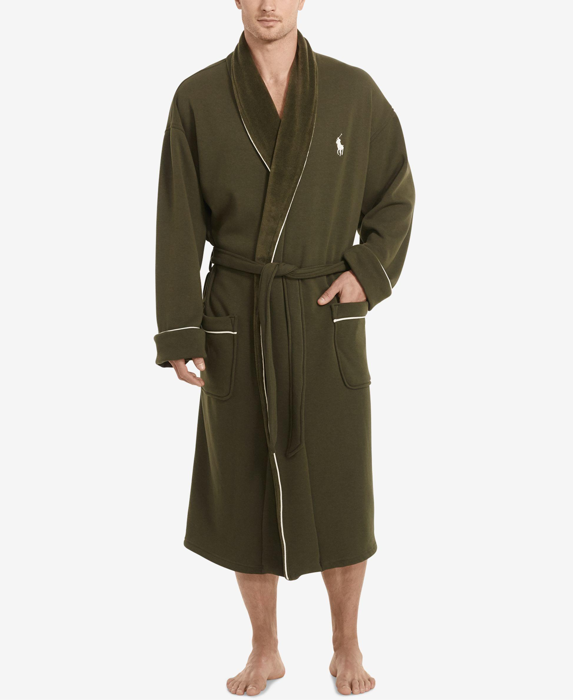 polo ralph lauren men 39 s shawl collar robe in green for men lyst. Black Bedroom Furniture Sets. Home Design Ideas