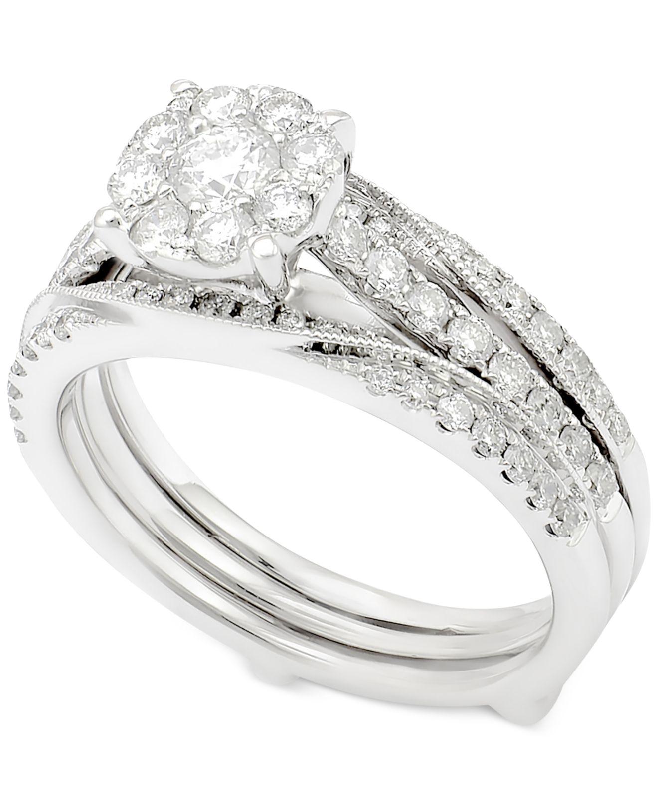 Macy s Diamond Cluster Three piece Bridal Set 1 Ct T w In 14k White Go