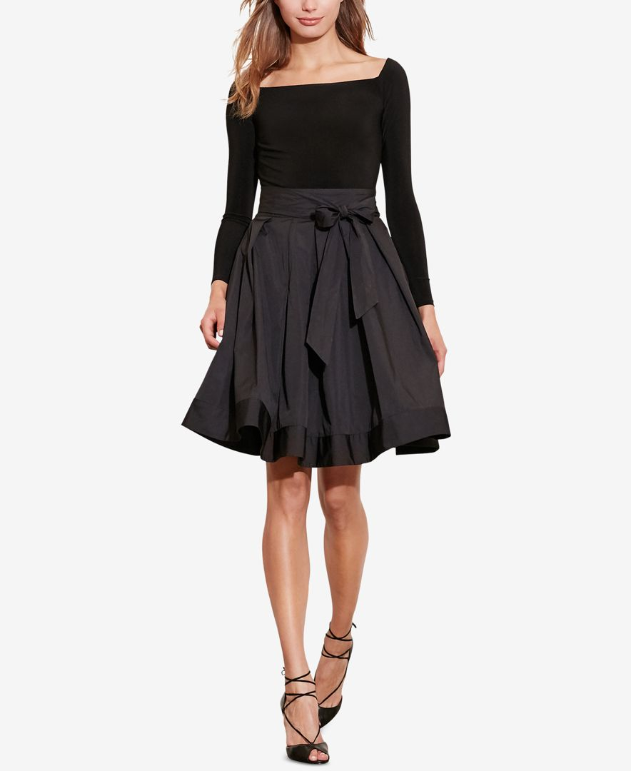 Lauren By Ralph Lauren Jersey Taffeta Dress In Black Lyst