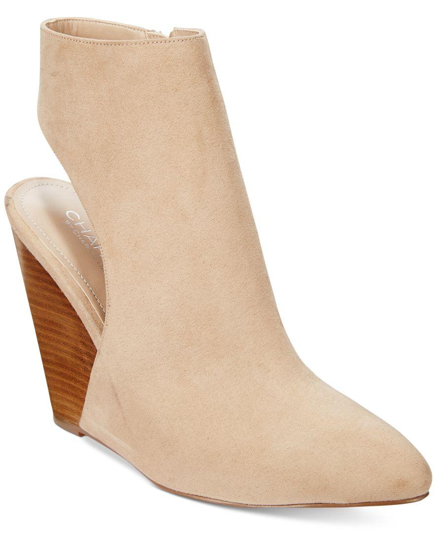 1b3a2d5236e3 Lyst - Charles David India Slingback Wedge Booties in Natural
