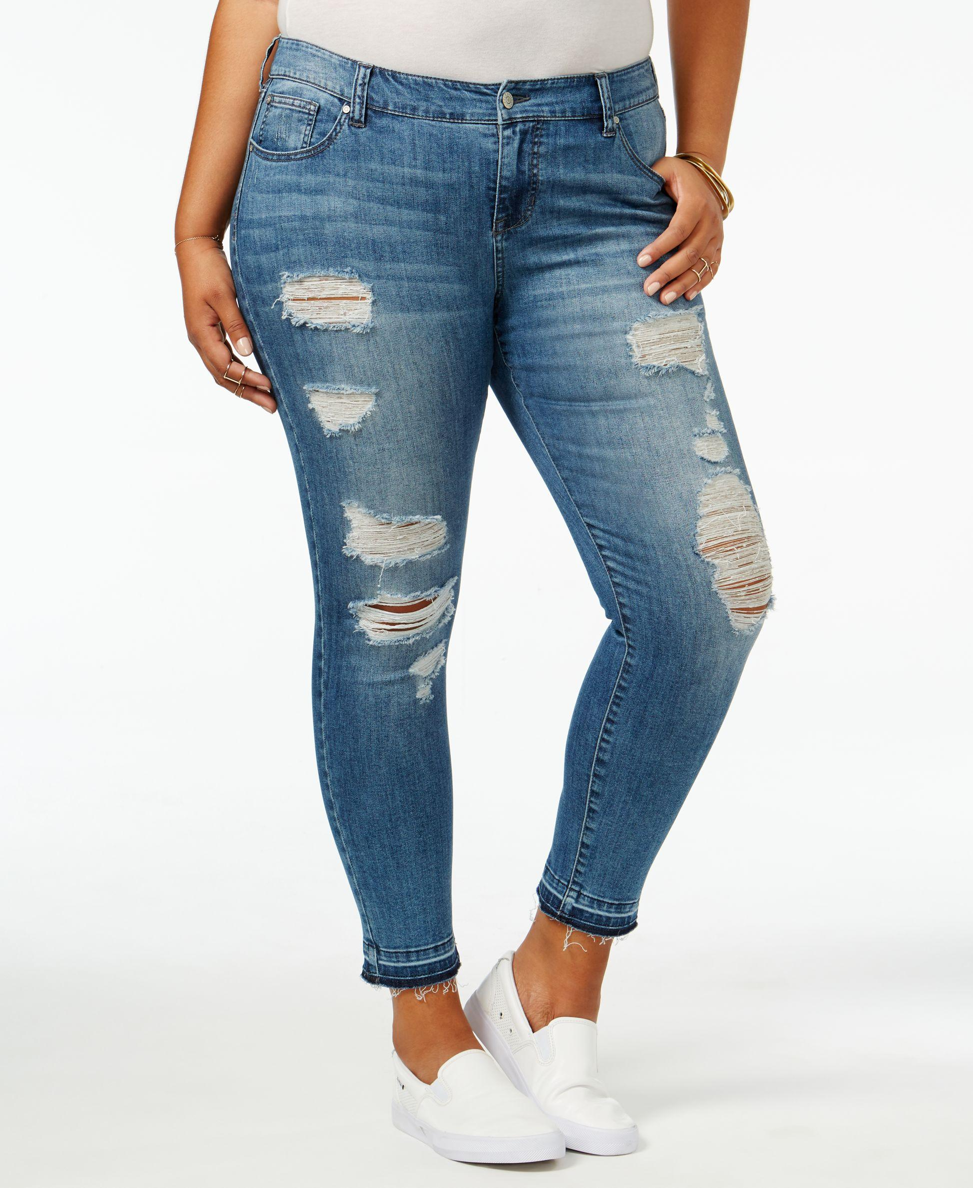 celebrity pink trendy plus size intensions wash ripped jeans in blue lyst. Black Bedroom Furniture Sets. Home Design Ideas