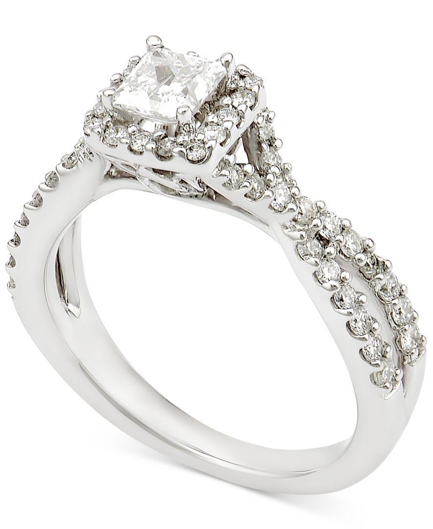 Macy s Diamond Halo Ring In 14k White Gold 1 Ct T w in White