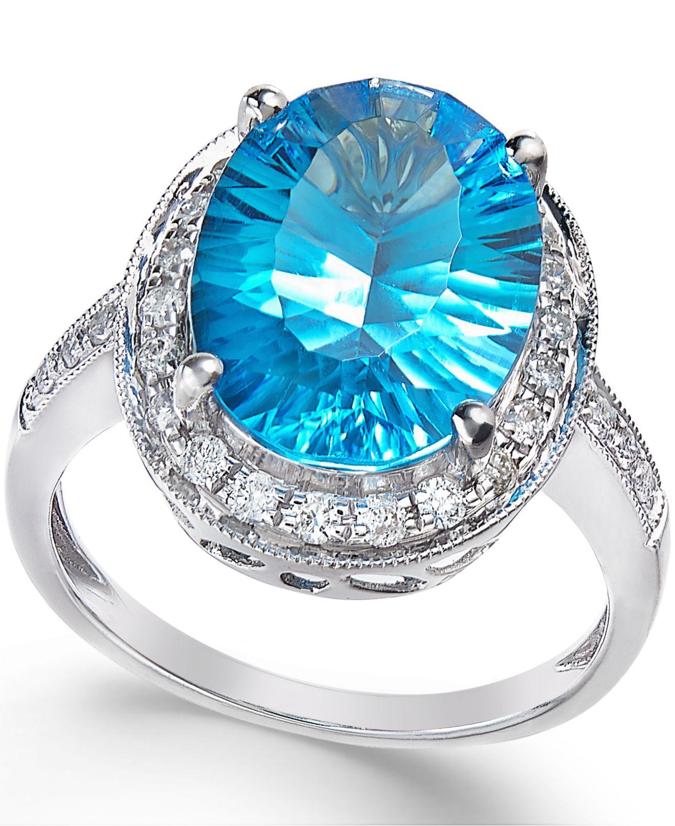 Macy'S Blue Topaz (6 Ct. T.w.) And Diamond (1/3 Ct
