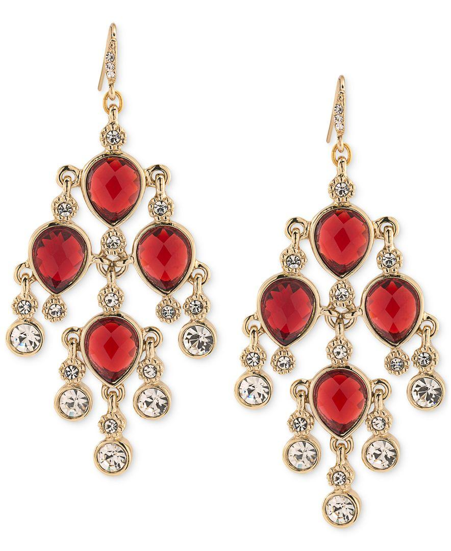 Red Chandelier Earrings: Carolee Gold-tone Red Stone And Crystal Chandelier