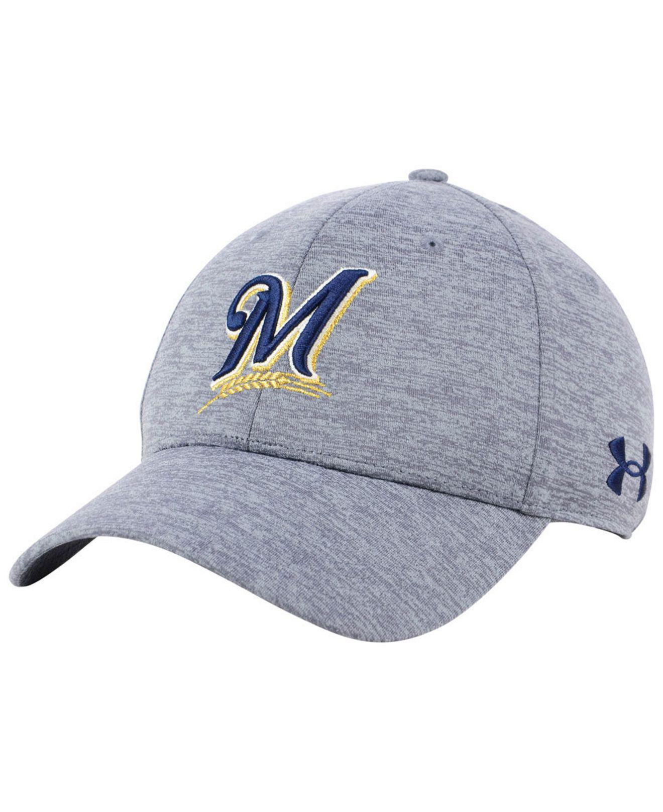 9cd32a292e1 Lyst - Under Armour Milwaukee Brewers Twist Closer Cap in Gray for Men