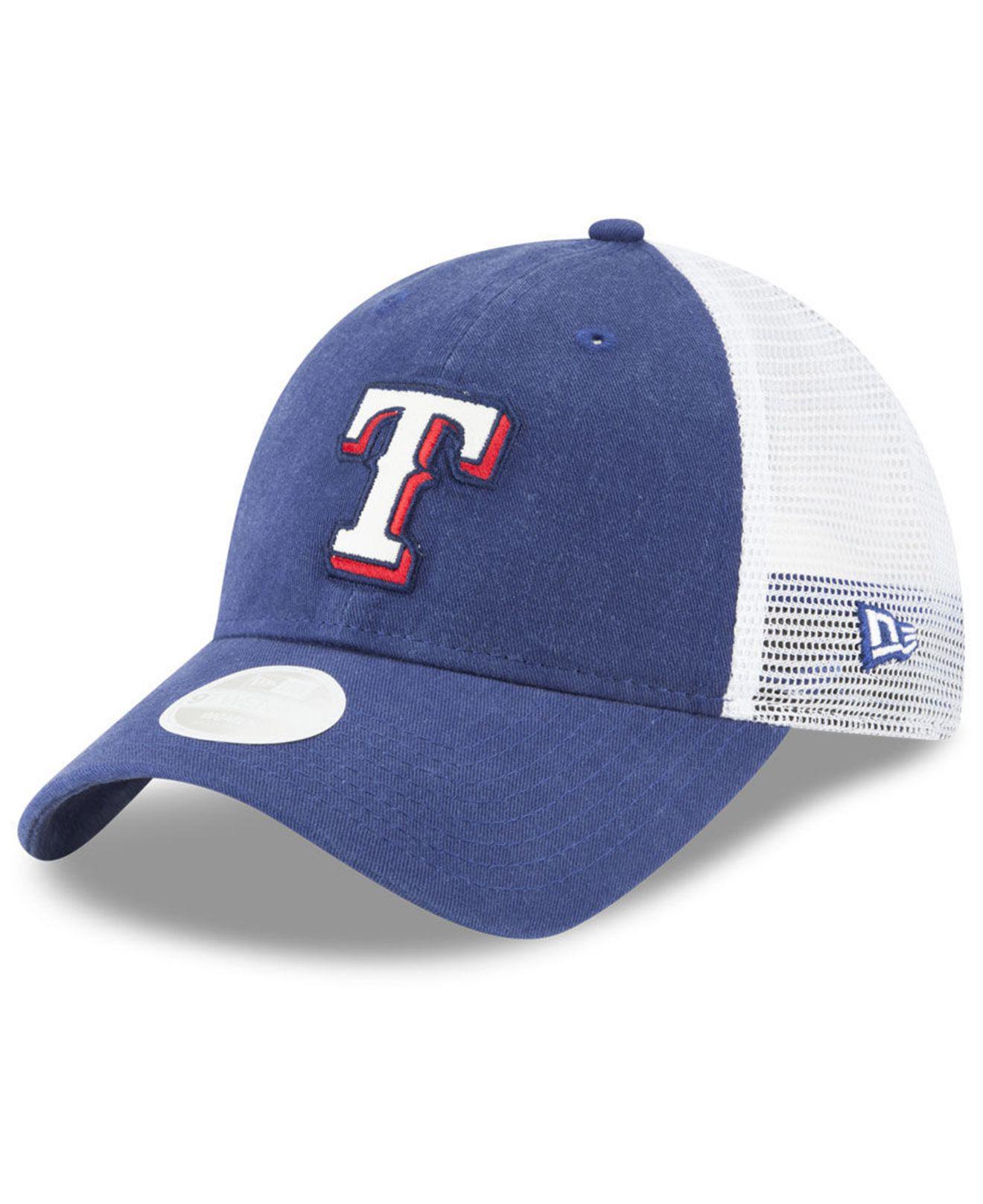 buy popular 4787f 6d941 uk lyst ktz texas rangers trucker shine 9twenty cap in blue for men 30c9a  aa736