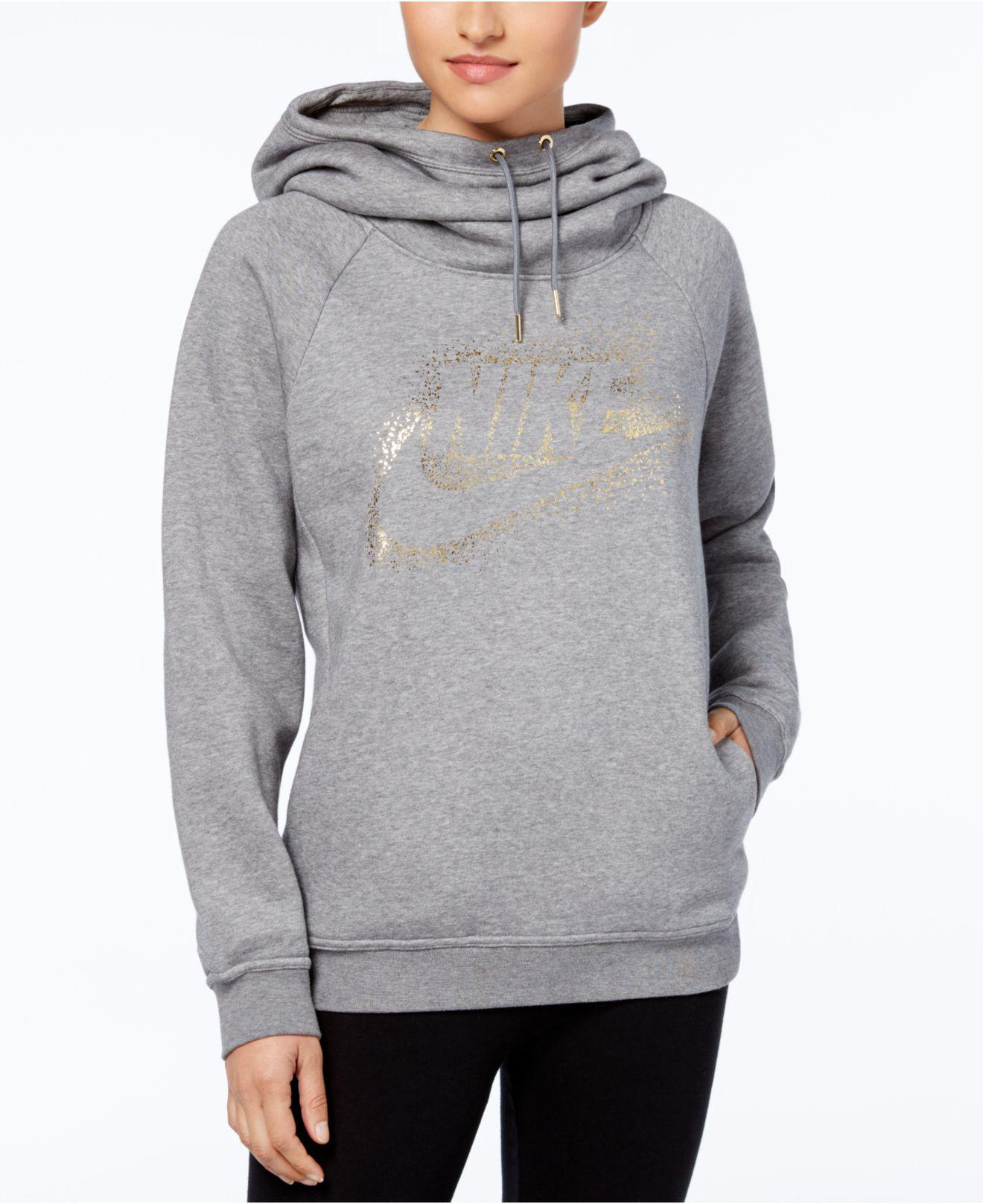 Nike Multicolor Sportswear Rally Funnel neck Metallic logo Hoodie