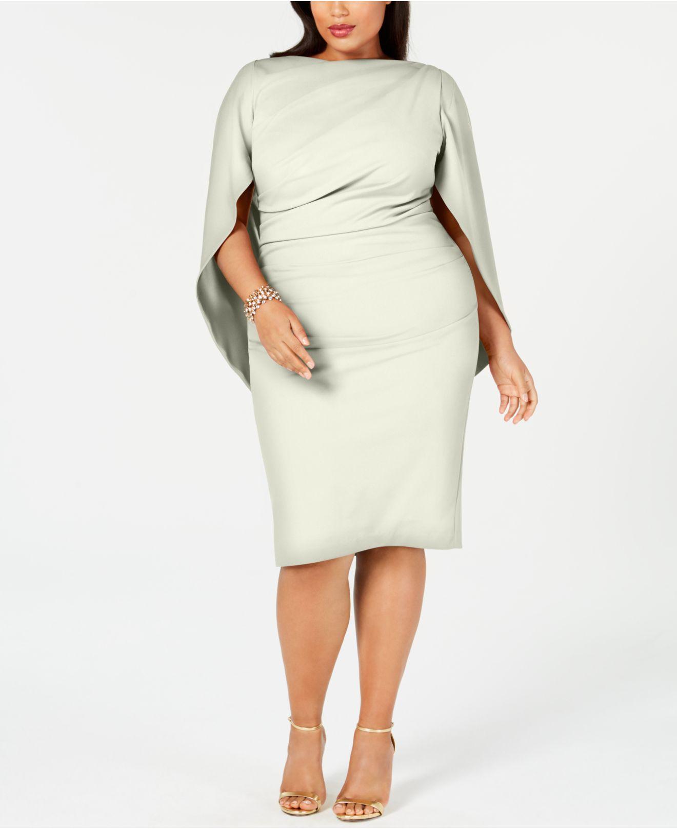Women\'s White Plus Size Ruched Cape Dress