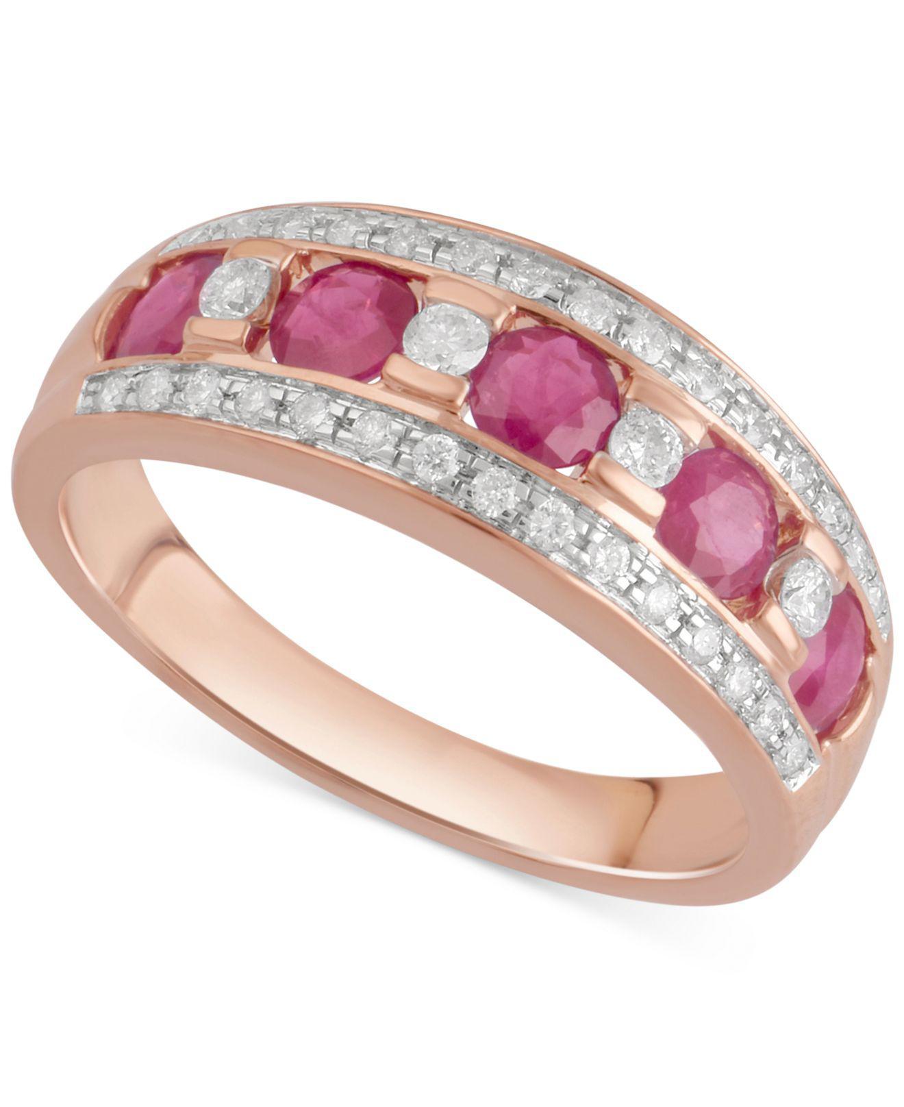 69a6d3fdb Lyst - Macy's Sapphire (3/4 Ct. T.w.) & Diamond (1/4 Ct. T.w.) Ring ...